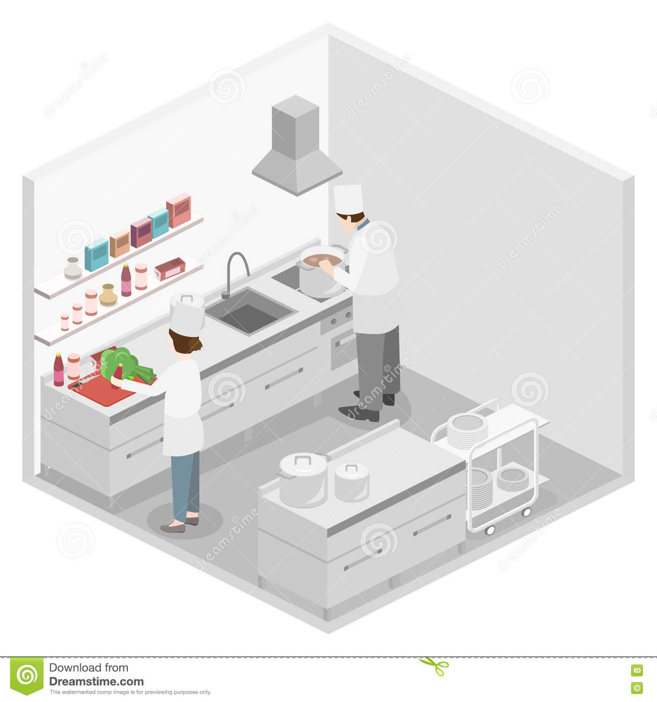 Isometric flat 3d interior of professional restaurant for Plan cuisine restaurant normes