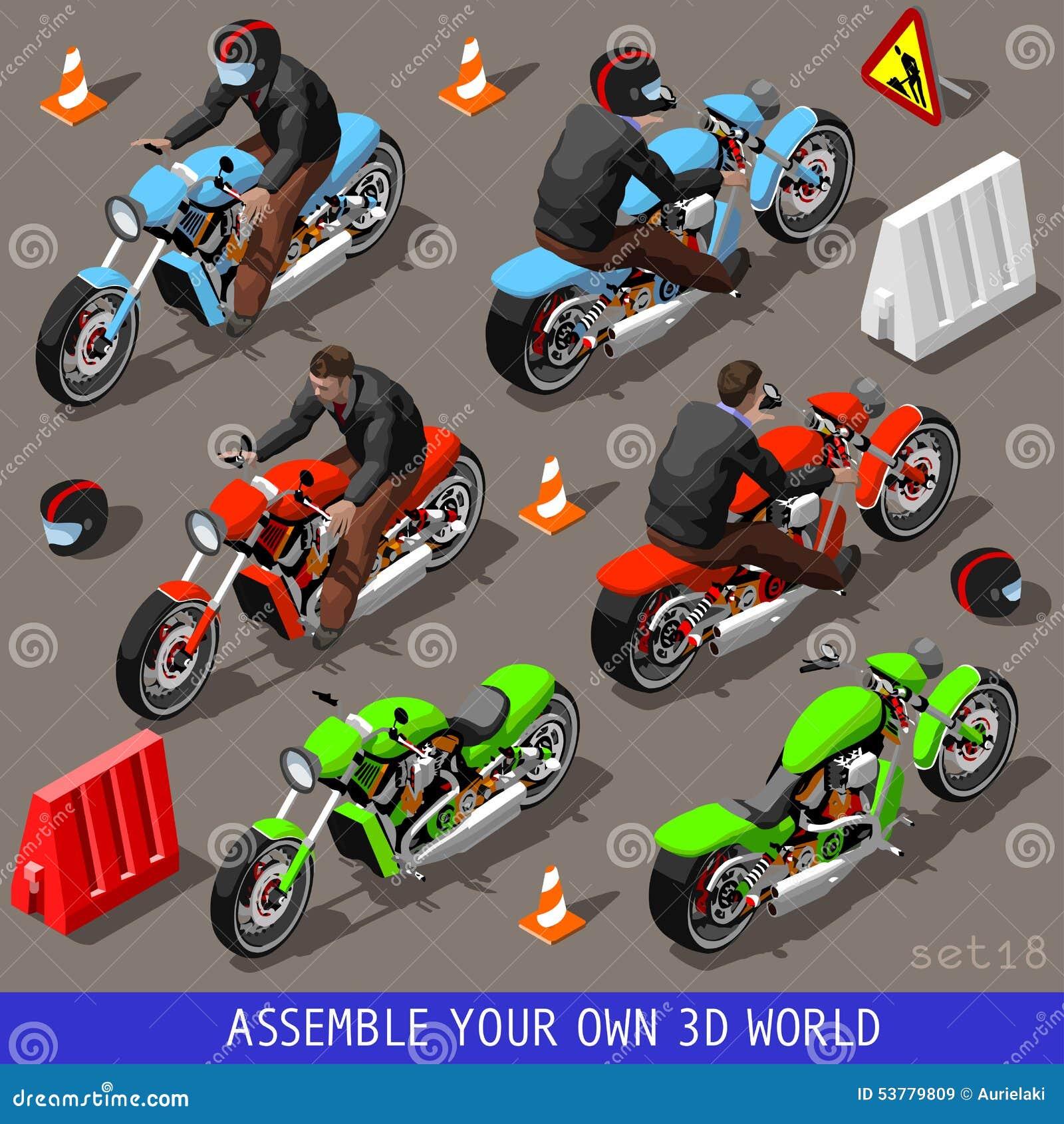 Isometric Flat 3d Vehicle Bikers Set