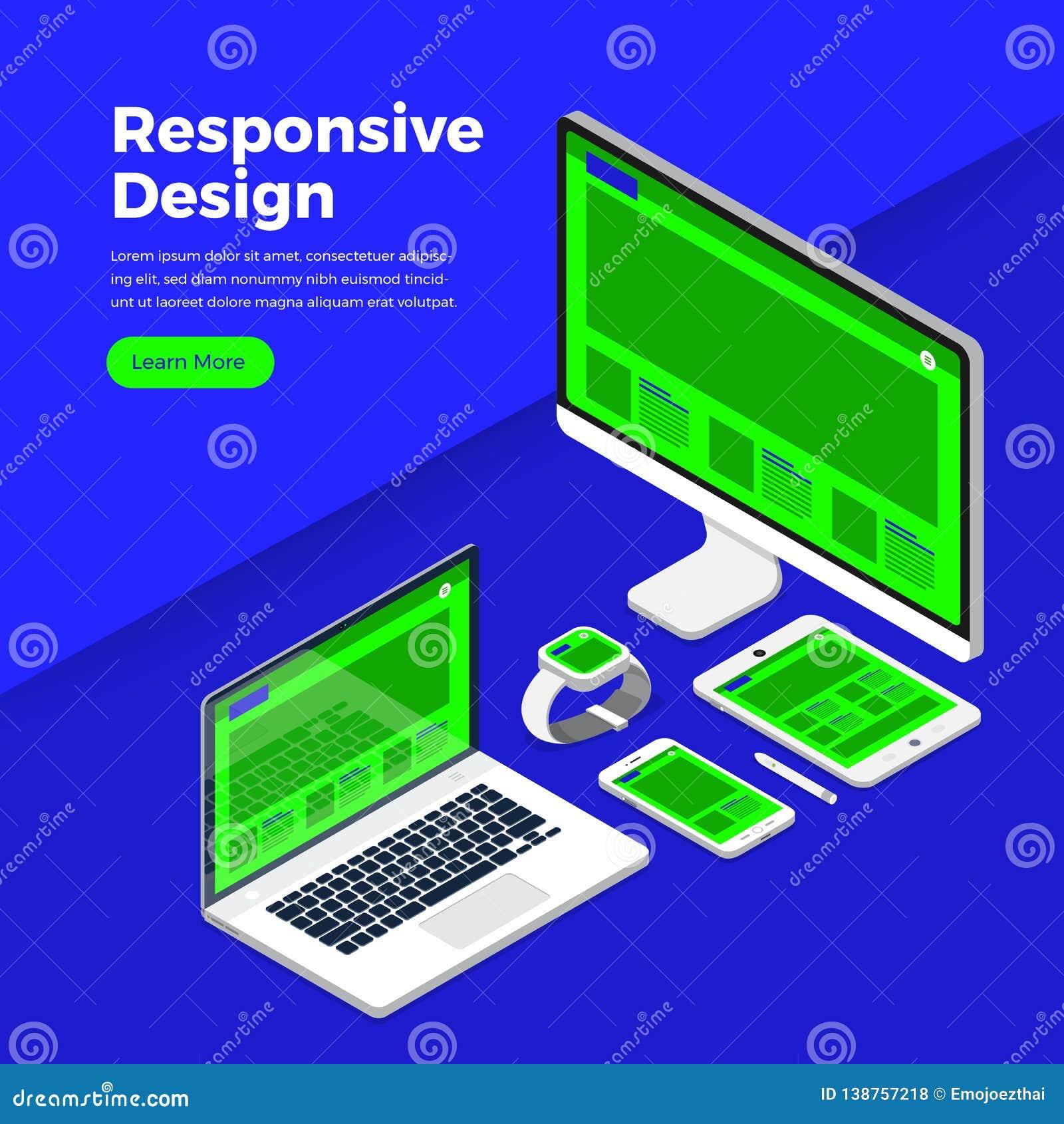 Flat Style Responsive Webdesign Technology Stock Vector: Isometric Flat Design Concept Responsive Design. Mockup