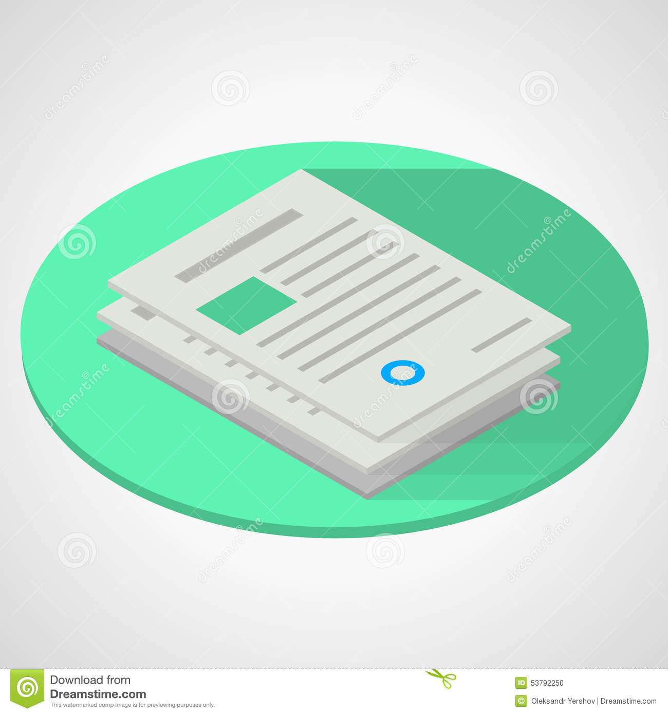 Isometric Flat Illustration Of Documents Paper Stock