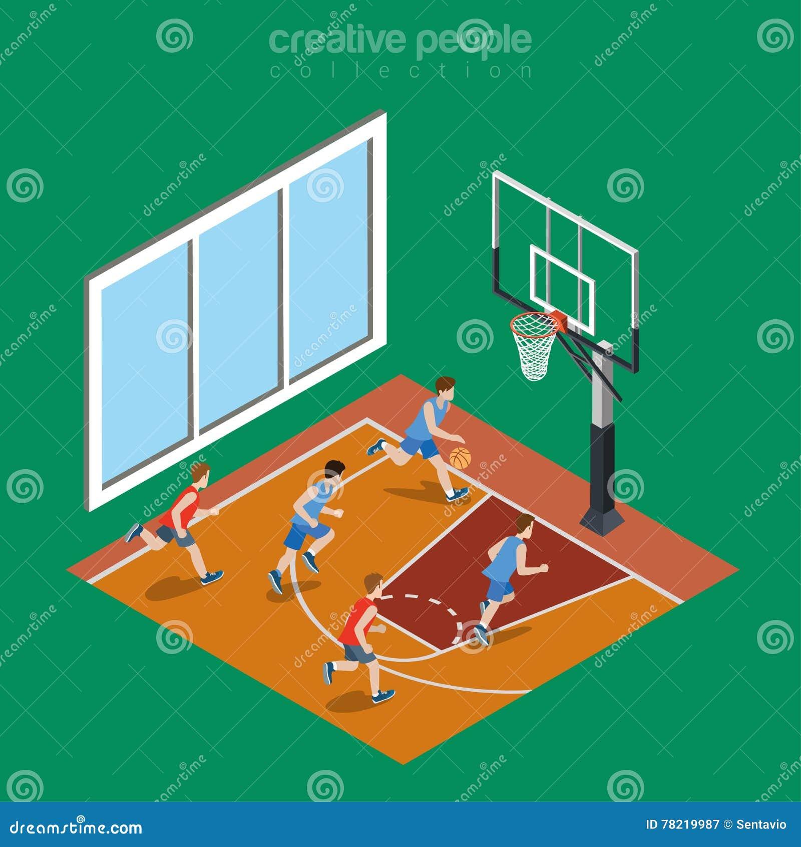 Isometric Flat Indoor Basketball Court Playground Stock Vector ...