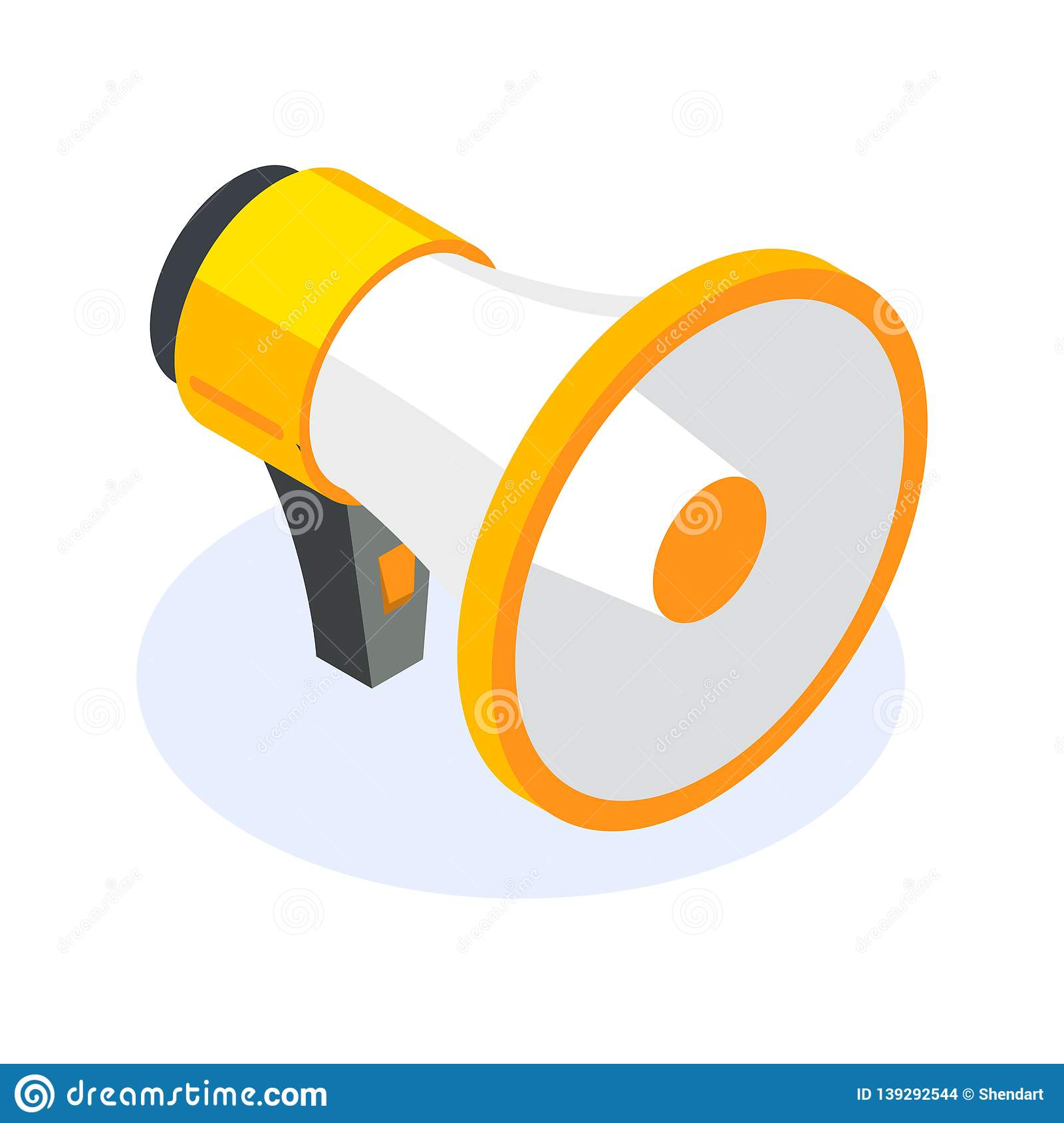 Isometric flat megaphone or speacker icon. Tool for reaching out to people at events. Can use for web banner