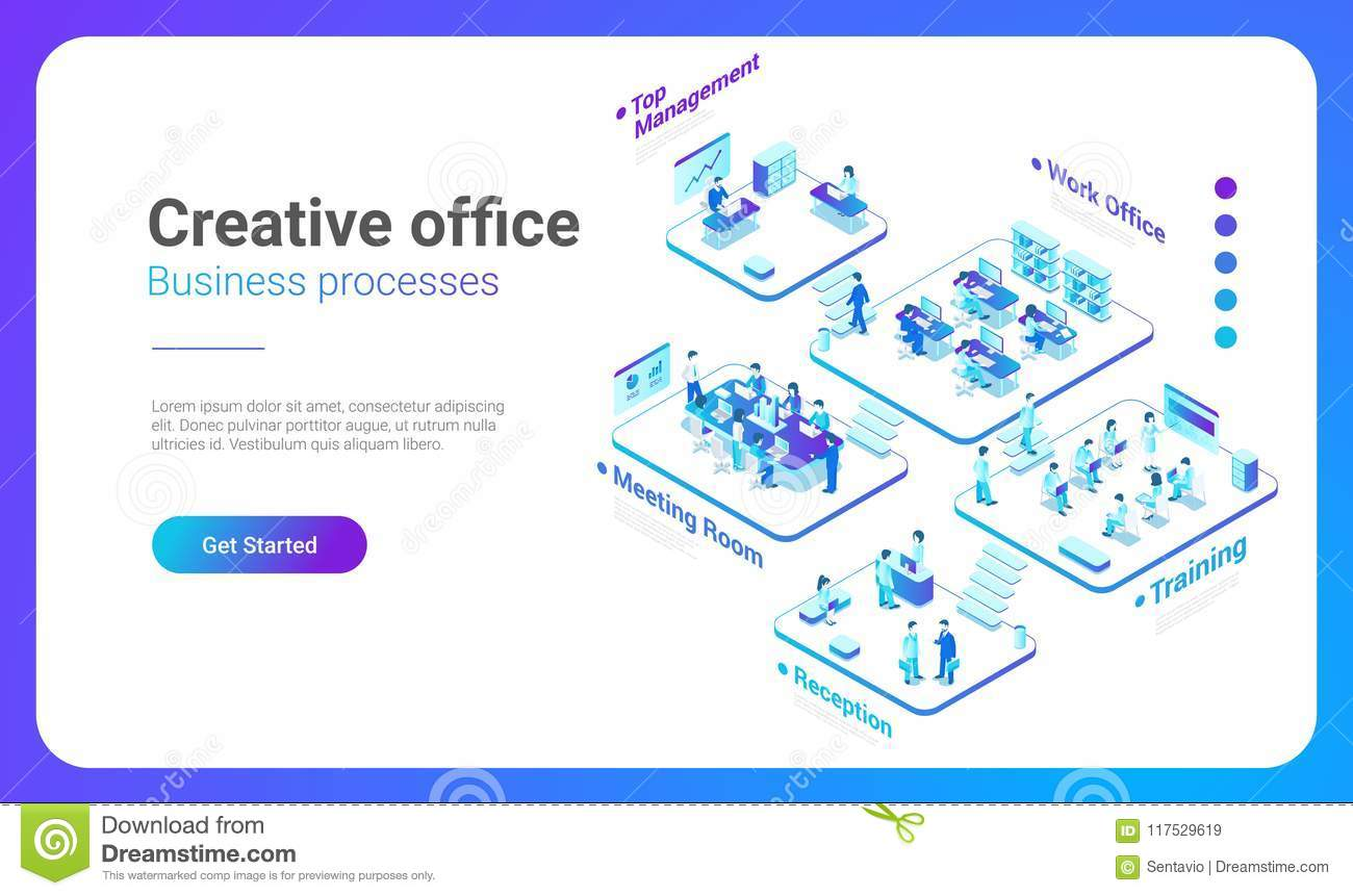 Isometric Flat People Office vector. Management Te