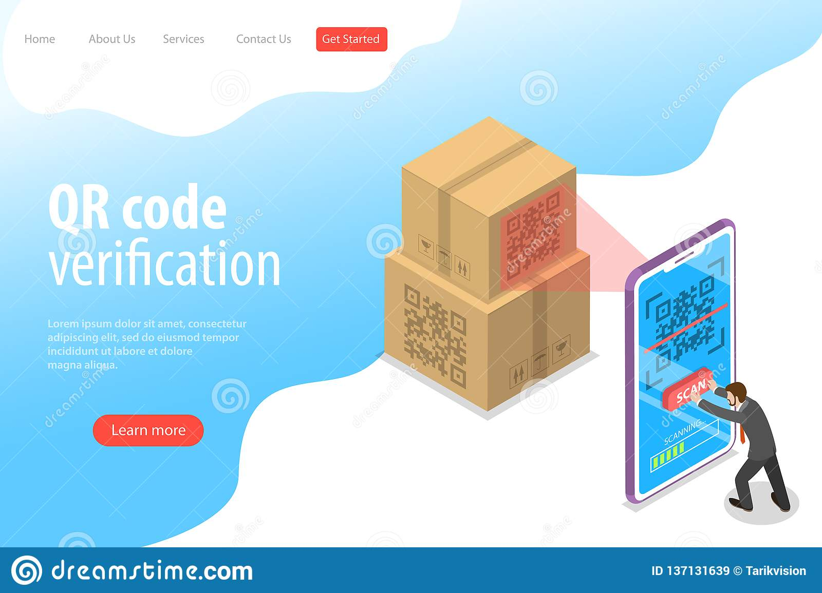 Barcode Verification isometric flat vector landing page template of qr code