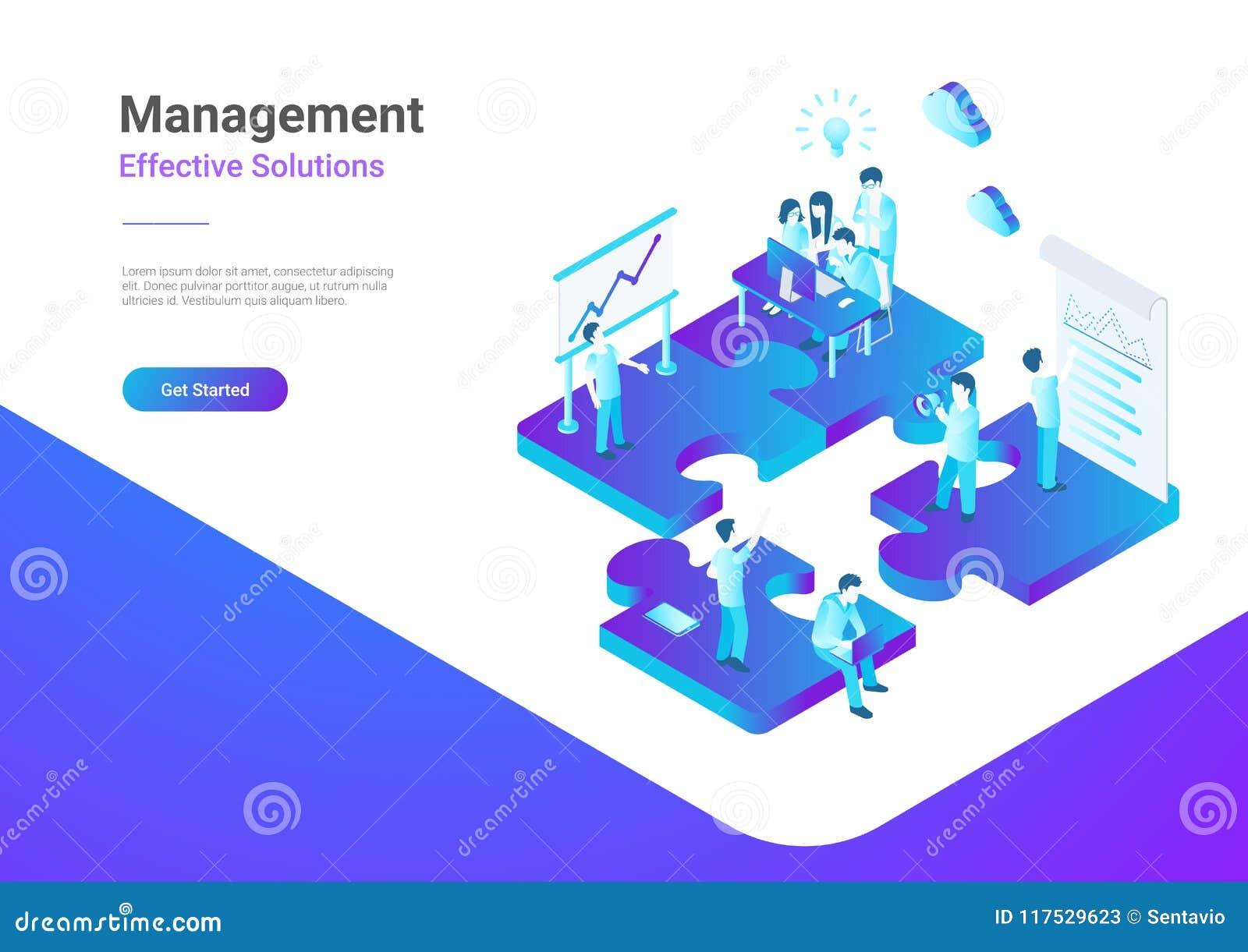 Isometric Flat vector Management Teamwork People P
