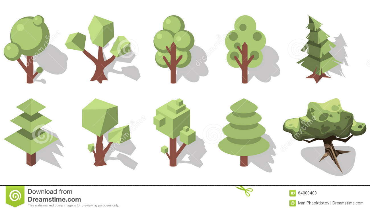 Isometric forest cartoon vector 64000403 for Forest landscape design