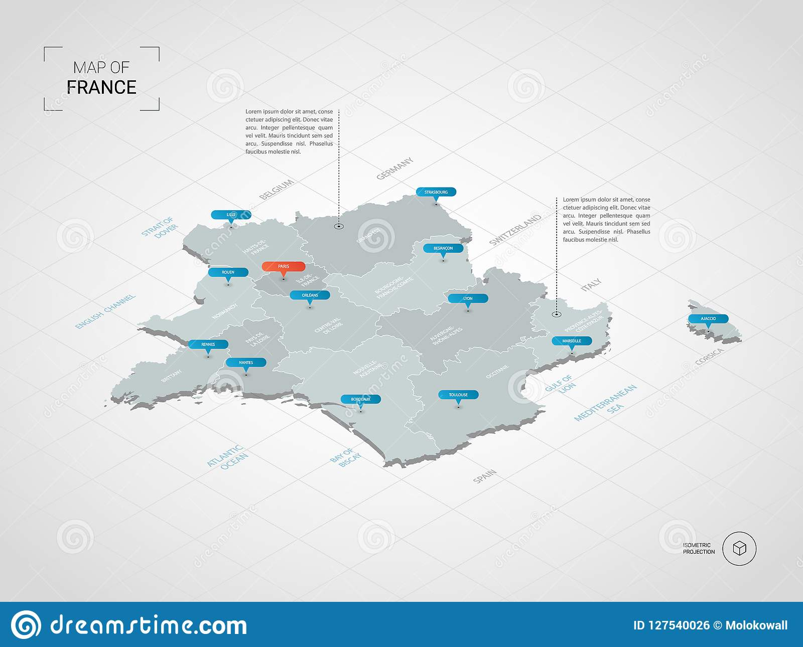 Map Of Germany With Cities In English.Isometric France Map With City Names And Administrative Division