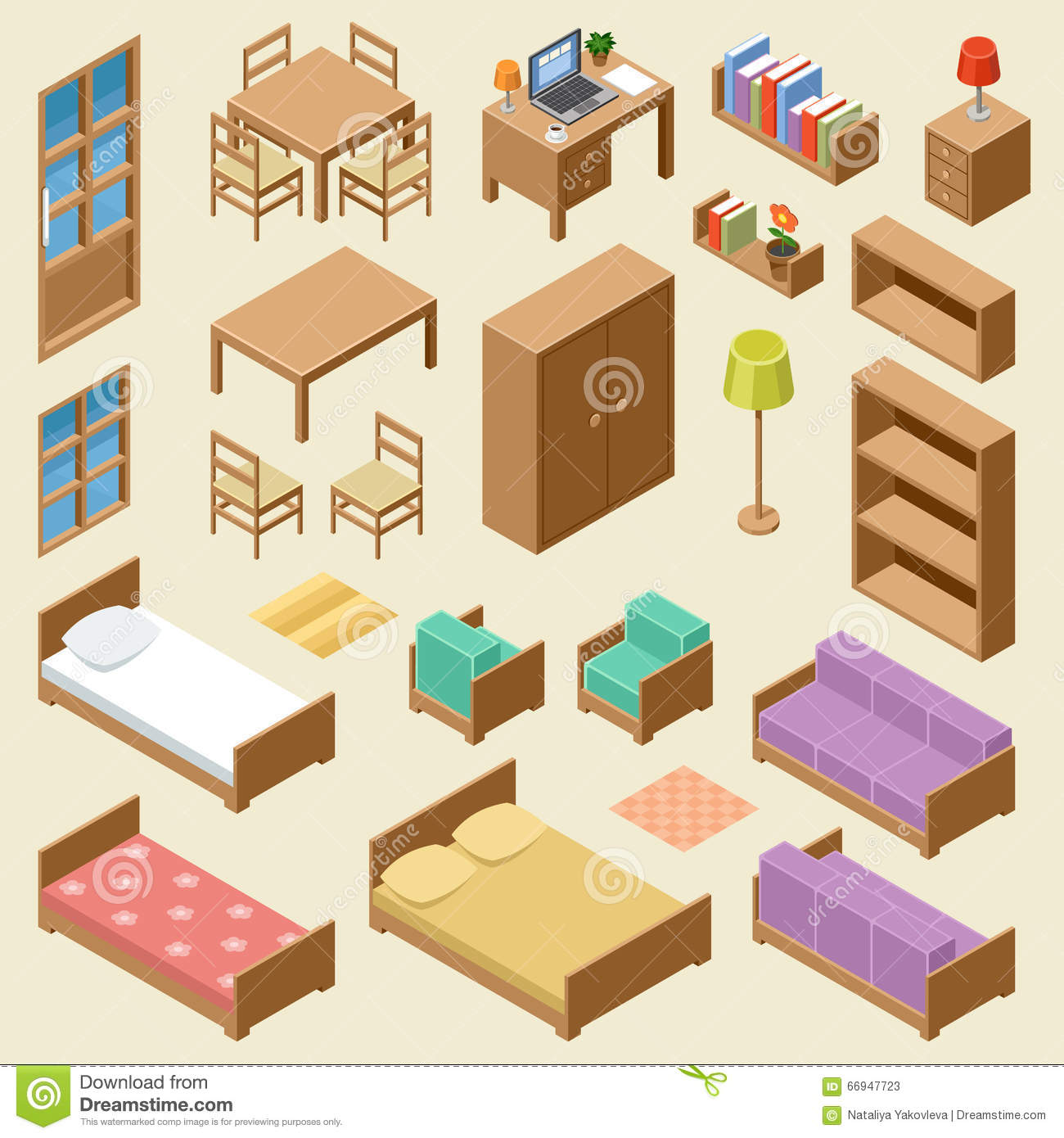 isometric furniture set stock vector image 66947723