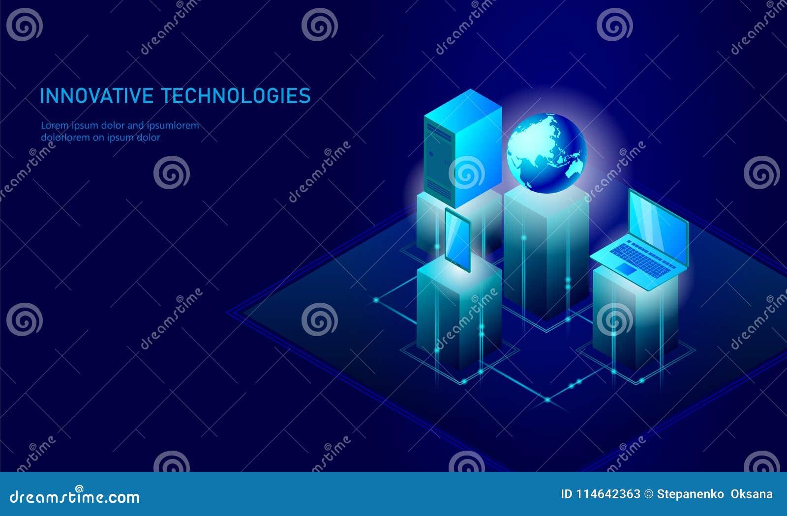 Isometric globalny networking planety ziemi biznesu pojęcie Błękitny rozjarzony isometric informacja osobista dane związek