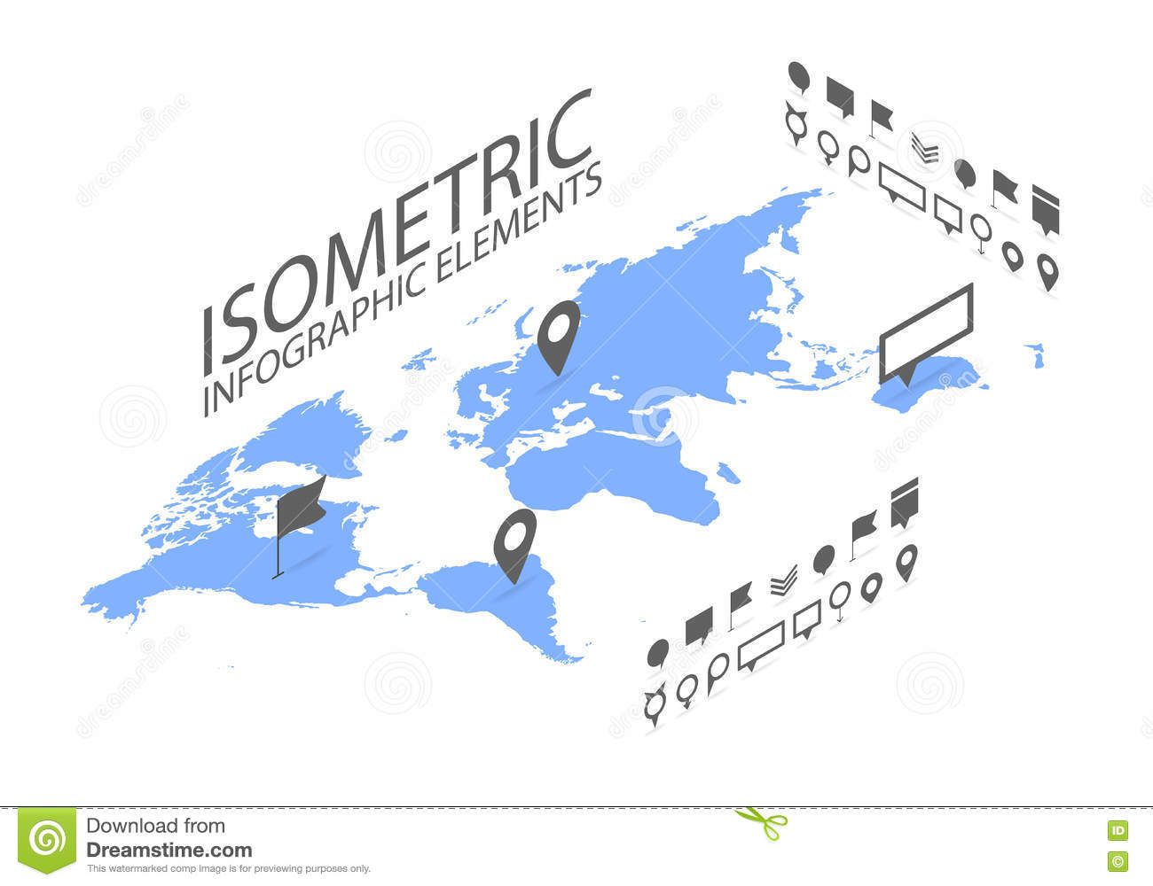 World Map Gps.Isometric Gps Navigation Concept World Map Application And Marker