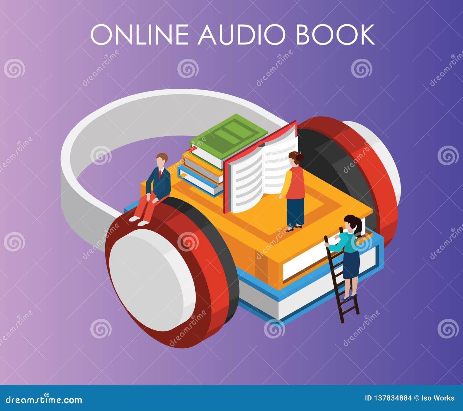 Isometric grafiki pojęcie audio książka dokąd ludzie mogą słuchać książki od ich telefonu