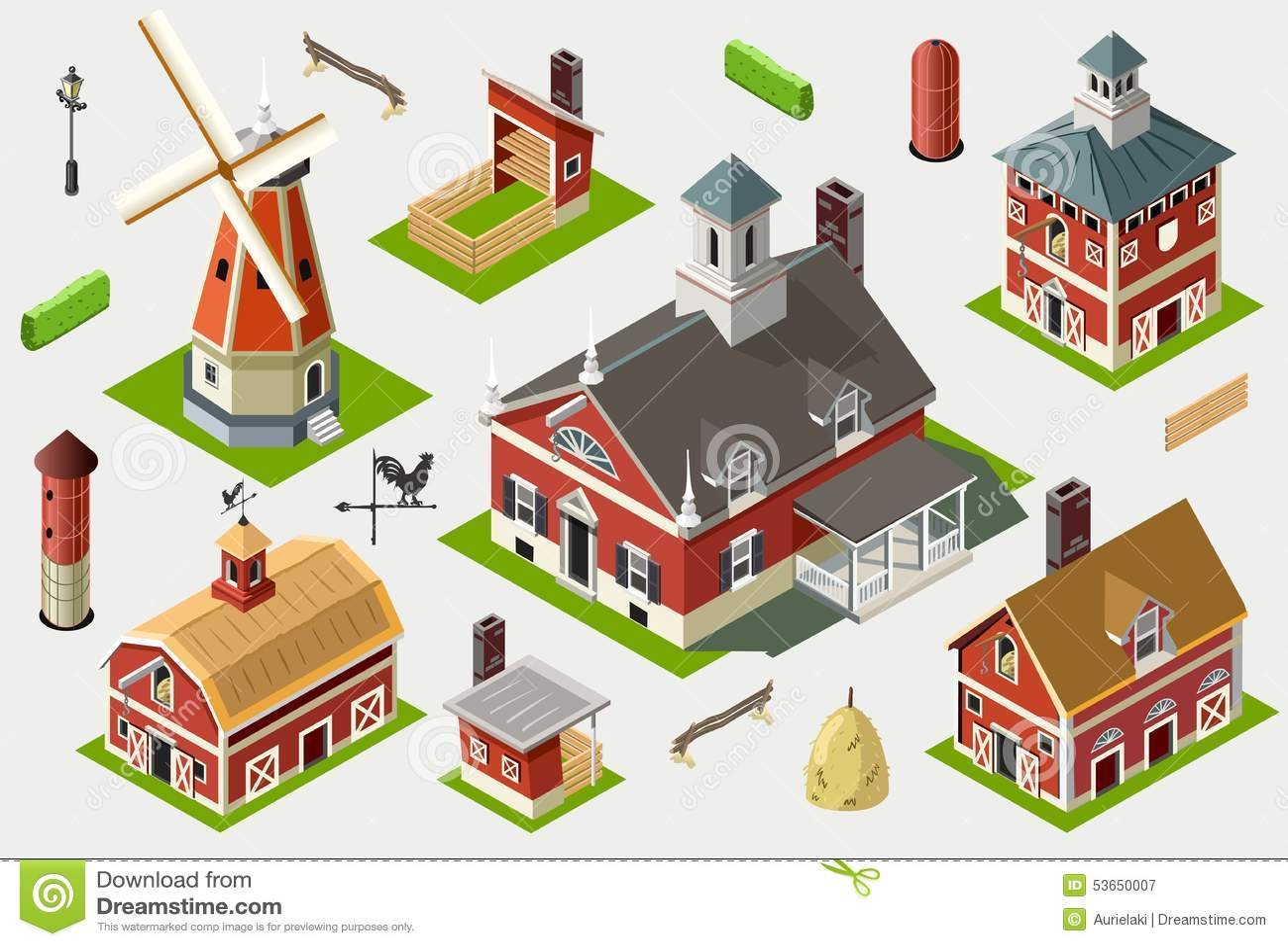 Isometric great american barn set tiles stock vector for Great american builders