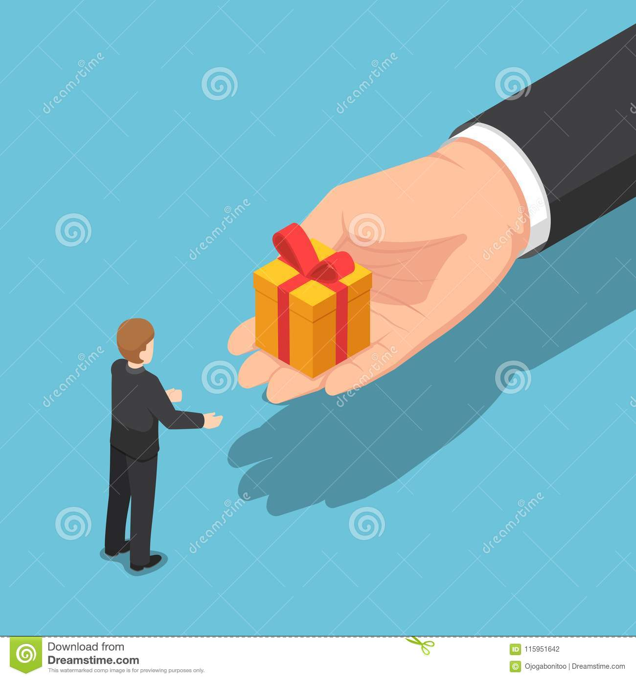 Flat 3d Isometric Hand Giving Gift Box To Businessman Business Holiday Celebration And End Of Year Bonus Concept