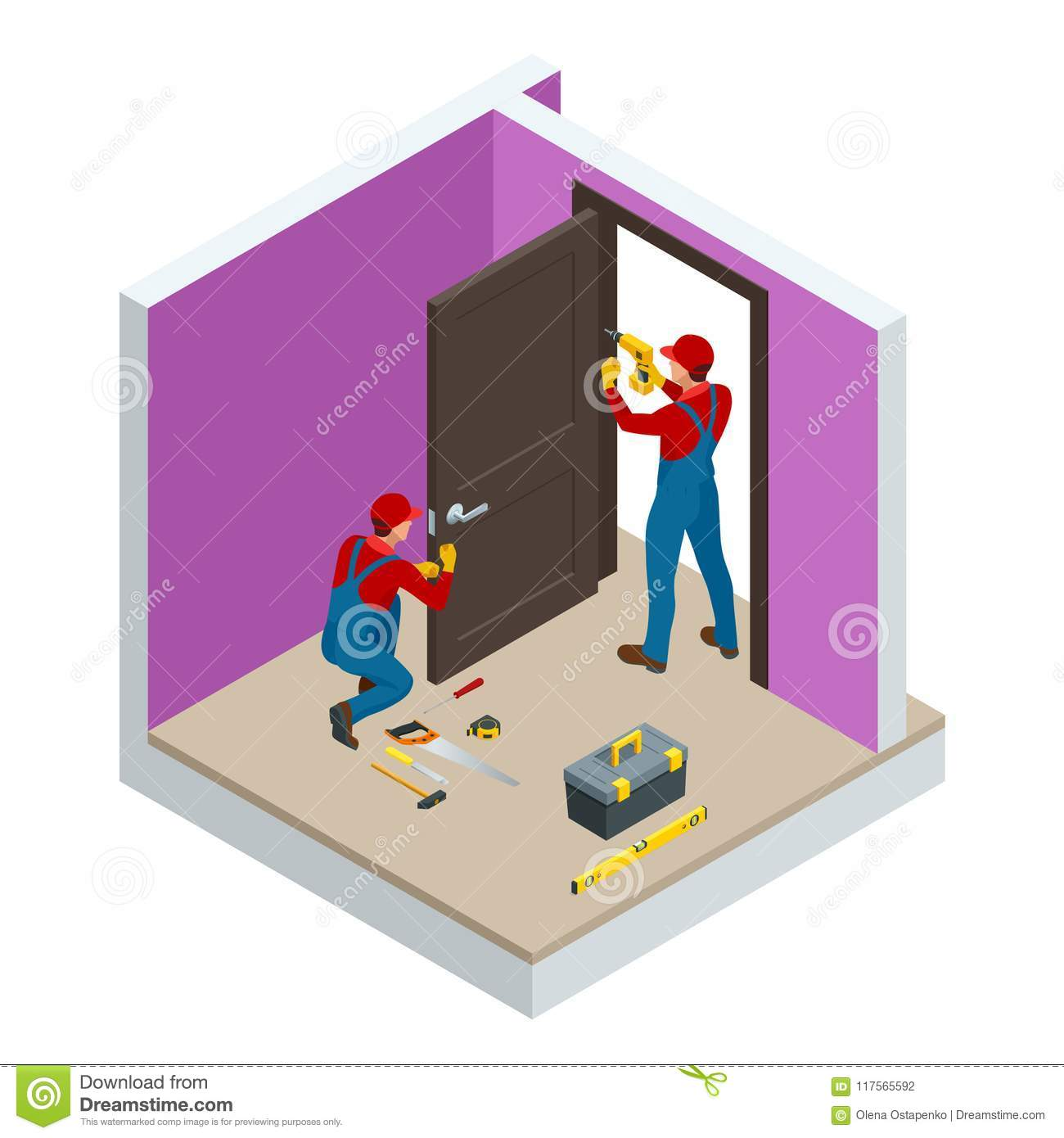 Isometric handymans installing a white door with an electric hand drill in a room. Construction building industry, new