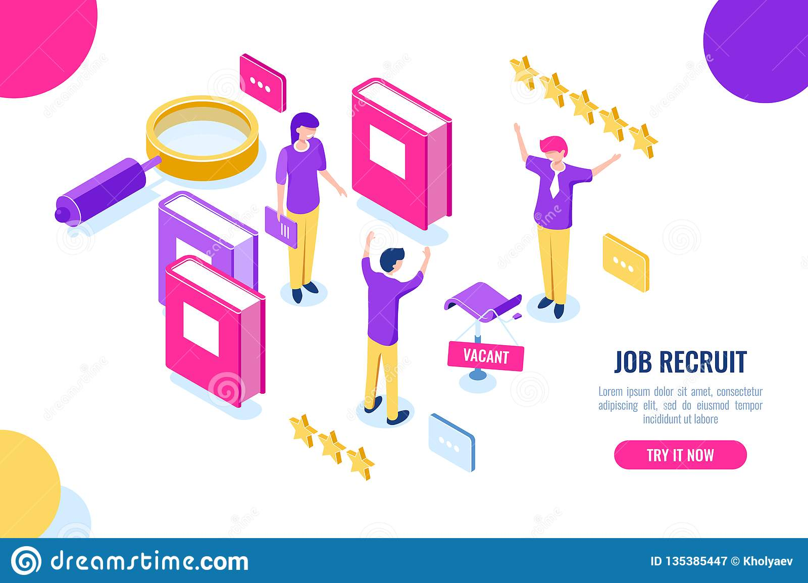 Isometric hire and recruit worker concept, vacant place, HR human resources, personnel assessment, magnifying glass