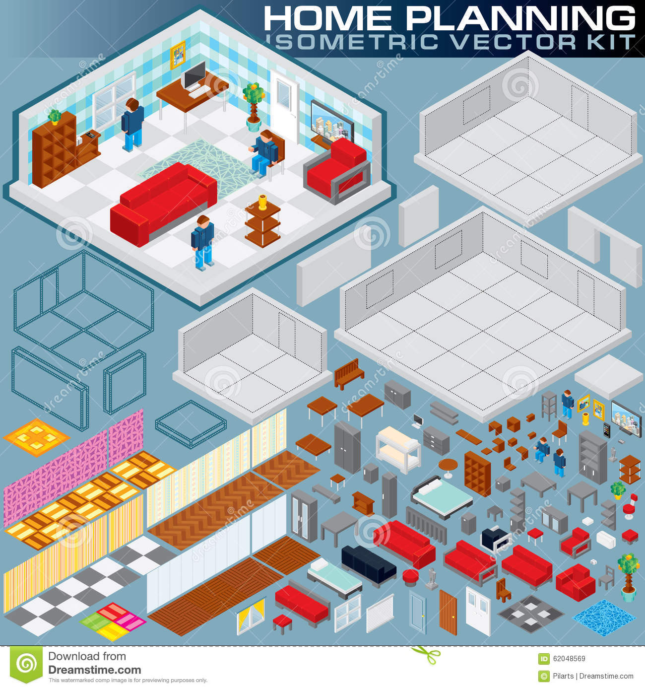 Virtual 3d Home Design Game: Isometric Home Plan. 3D Vector Creation Kit Stock Vector