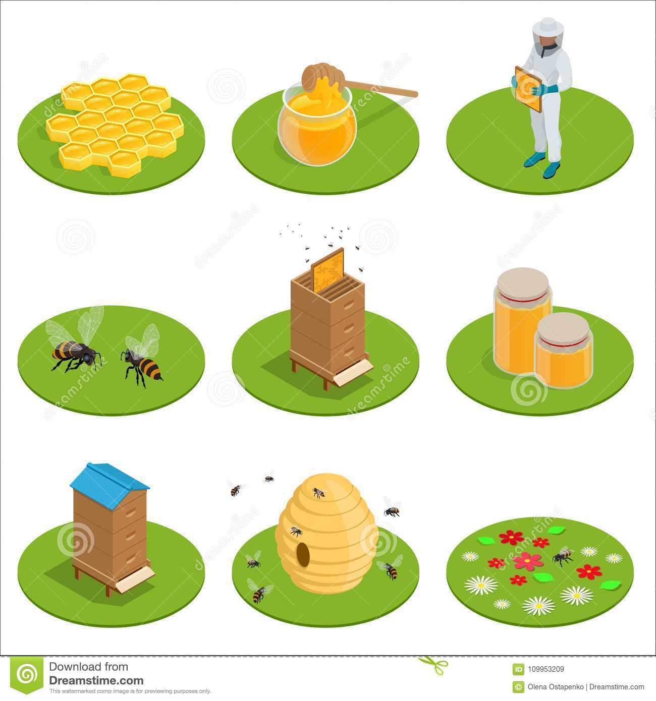 Isometric Honey isolated icons set with bees, beekeeper works on an apiary, hive, bee, honeycomb. Vector illustration