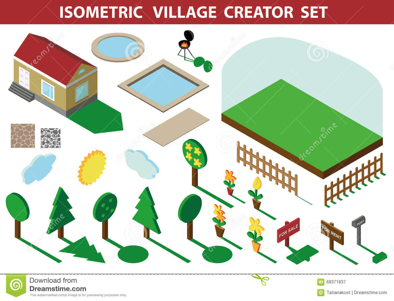 More similar stock images of 3d landscape with fall tree - Isometric House 3d Village Landscape Creator Kit Royalty Free Stock Photography