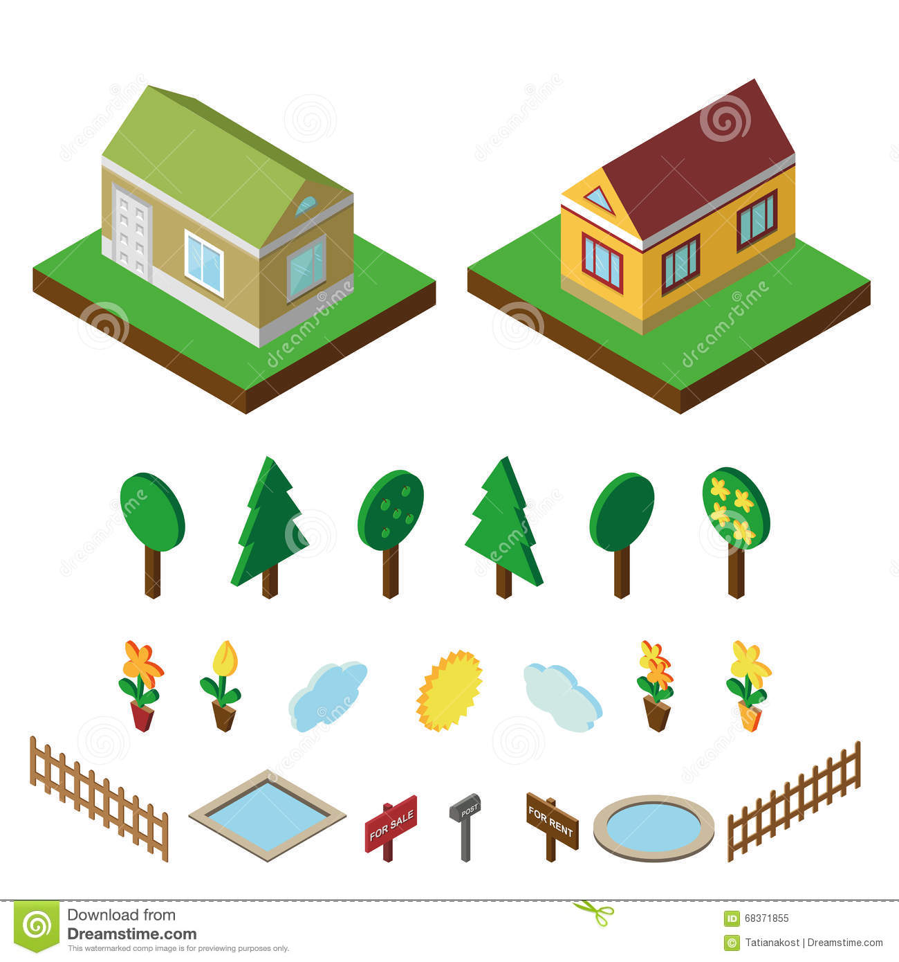 More similar stock images of 3d landscape with fall tree - Isometric House 3d Village Landscape Icons Set Royalty Free Stock Photo