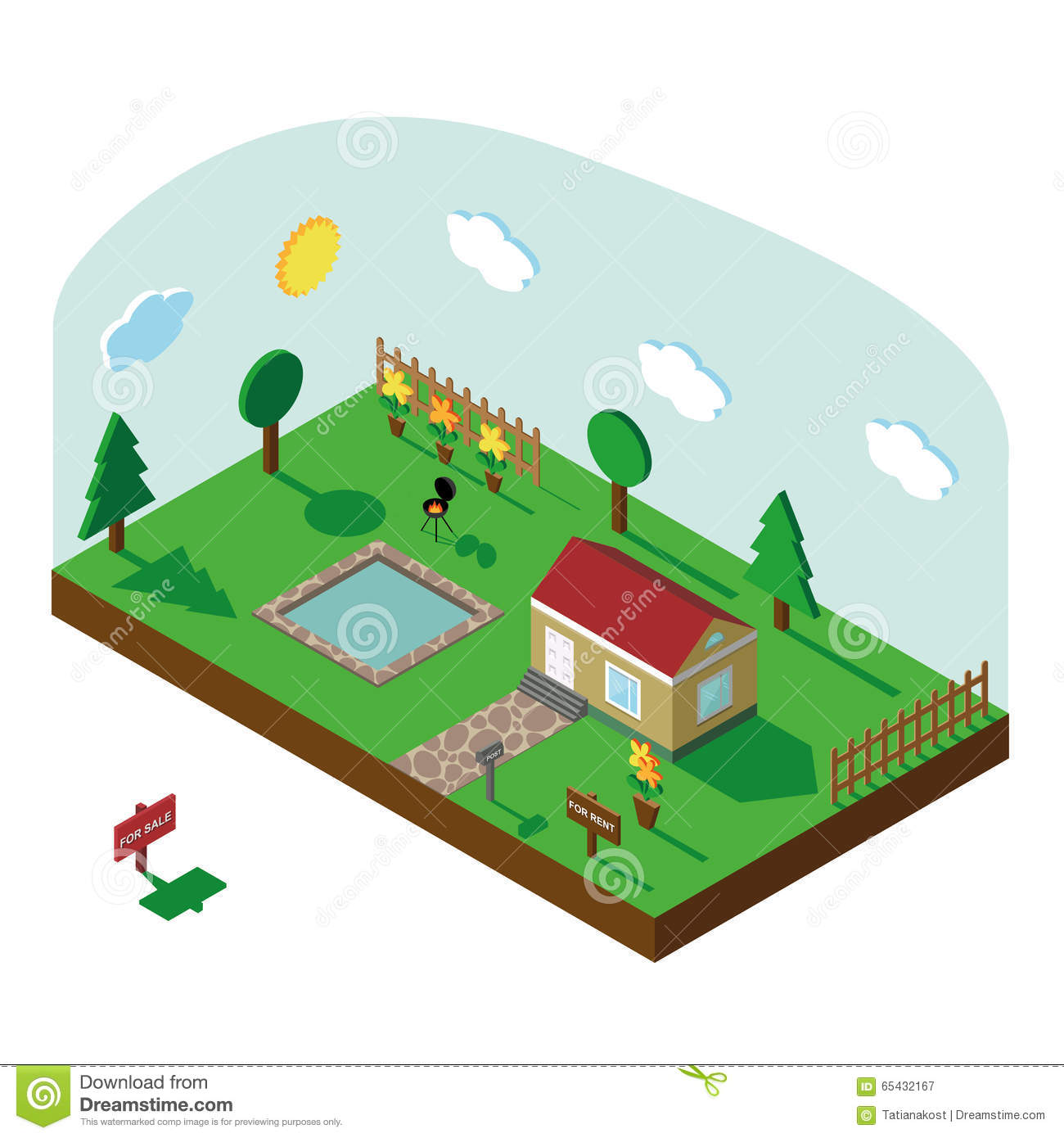 More similar stock images of 3d landscape with fall tree - Isometric House 3d Village Landscape With Sky Royalty Free Stock Photography