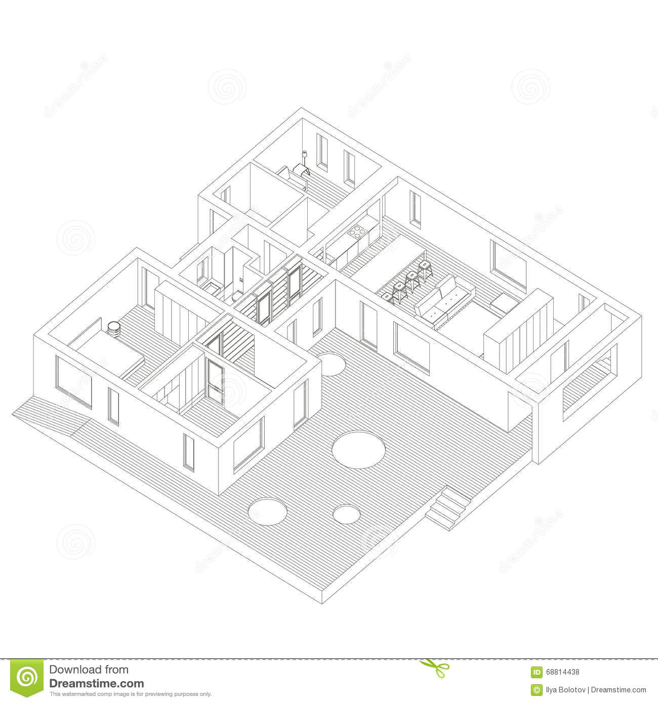 Isometric house inside stock vector