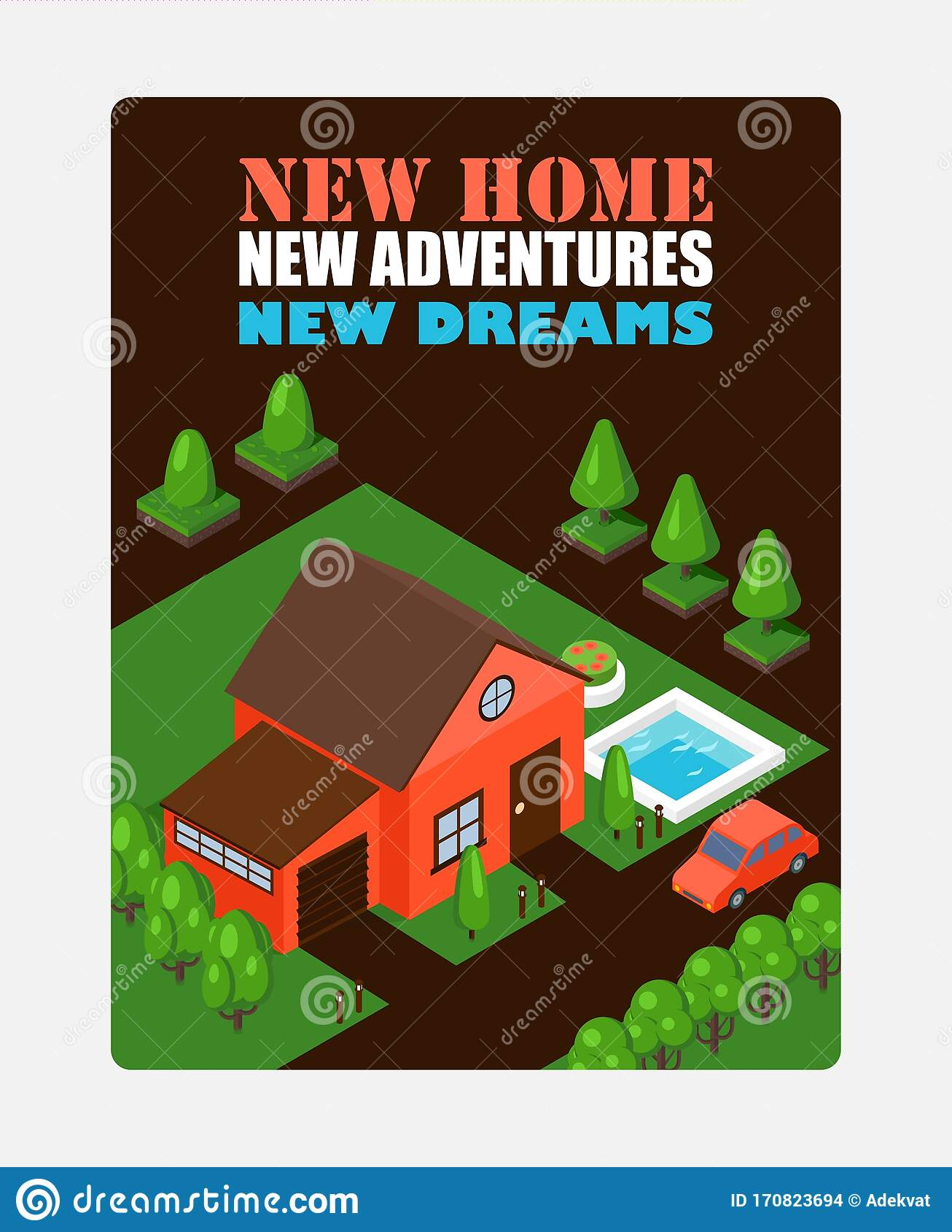 Isometric House On Inspirational Poster Vector Illustration Real