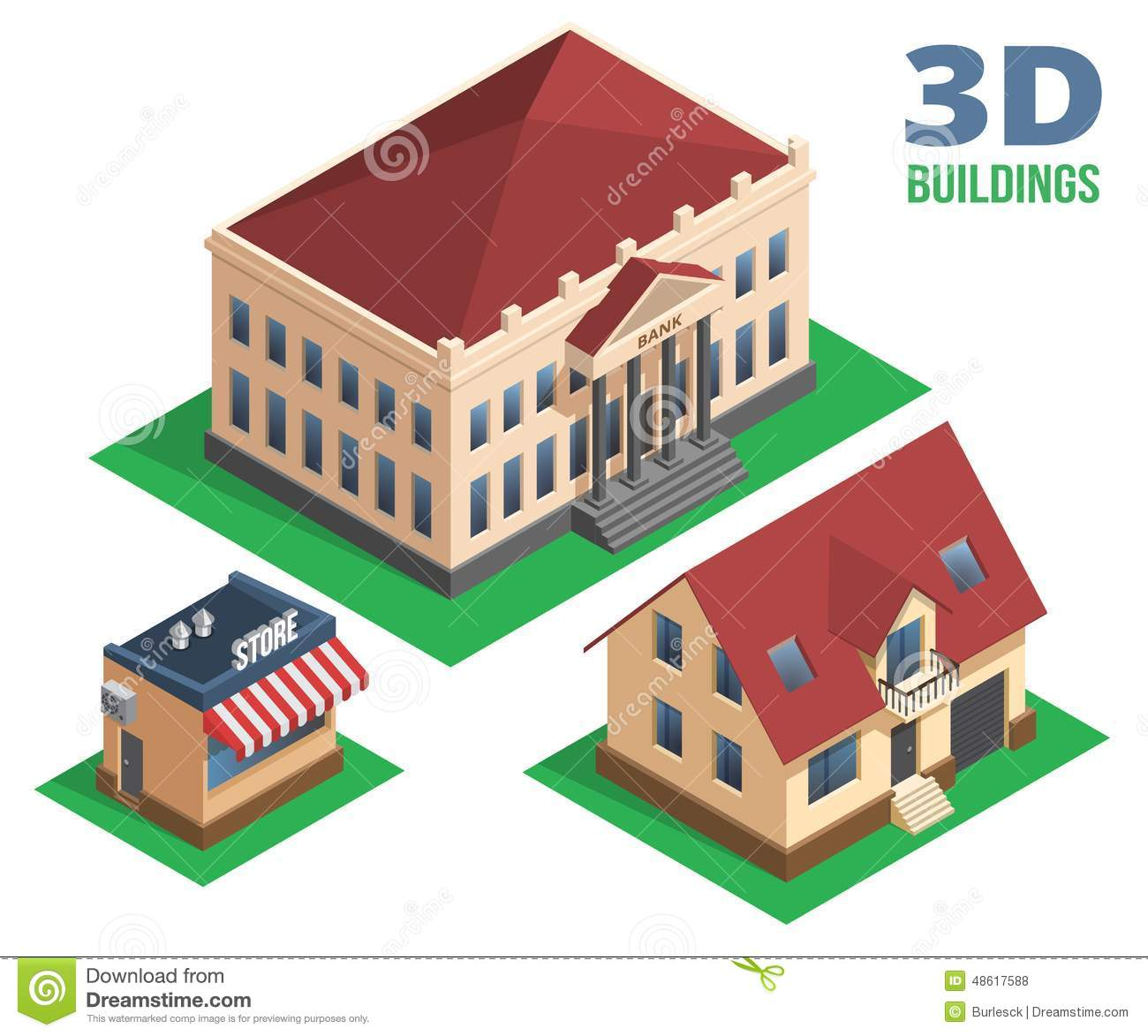 Isometric house store and building designs stock vector for Store building design