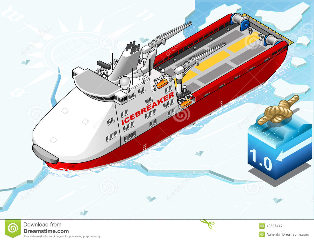 Isometric Icebreaker Ship Breaking The Ice Stock Vector ...
