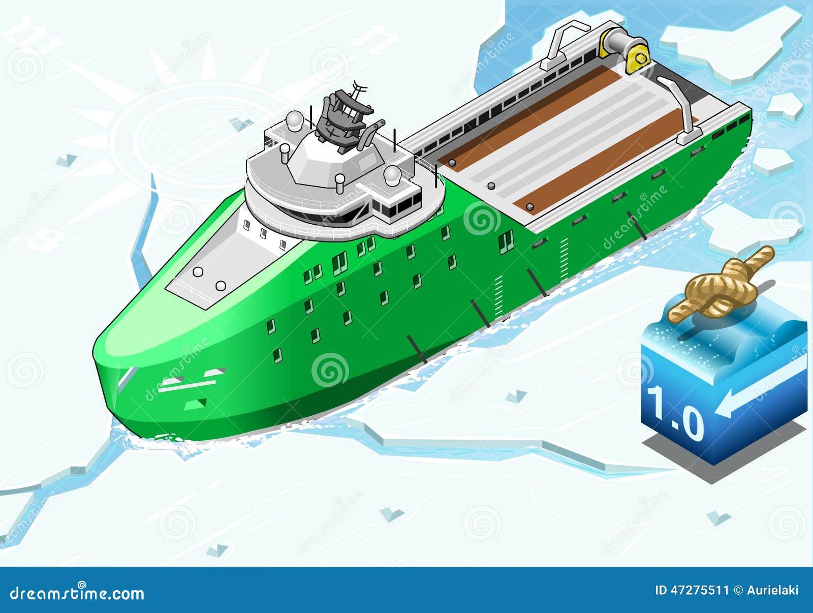 Isometric Icebreaker statek Łama lód w Frontowym widoku