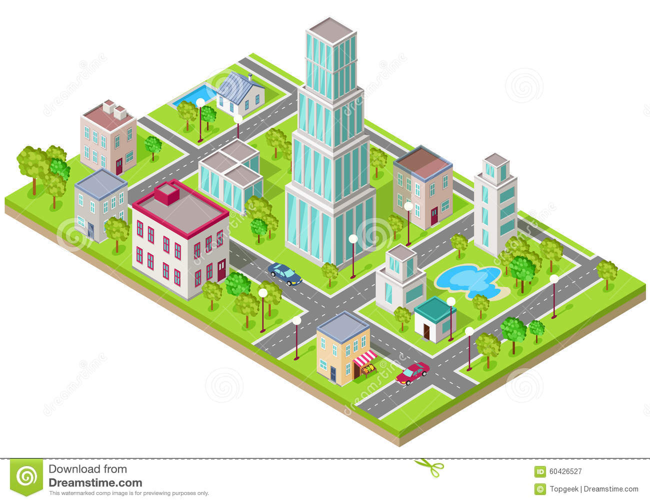 Isometric Icon Of City Flat Design Stock Vector