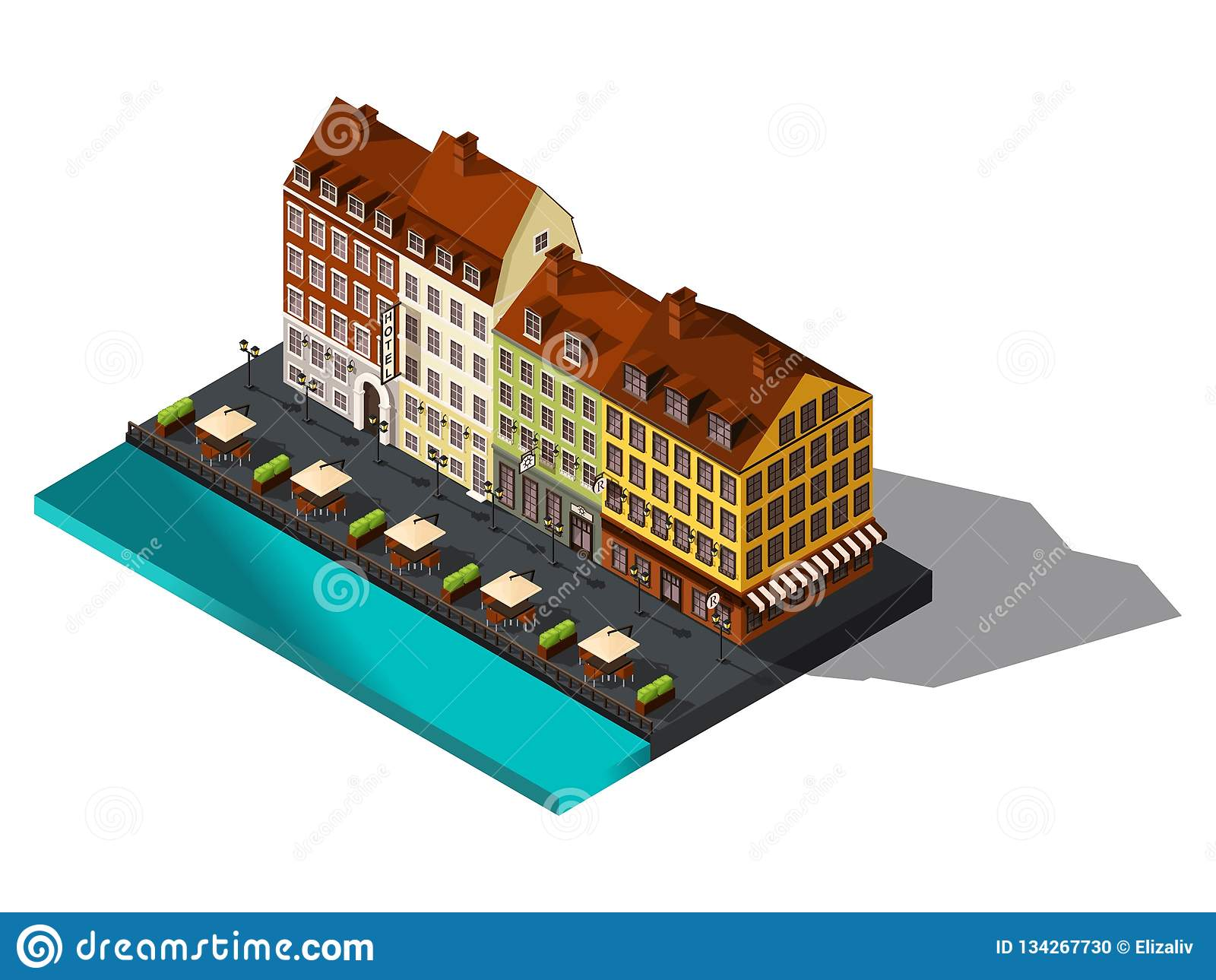 Isometric 3d street from old dov by the sea, hotel, restaurant, Copenhagen, Paris, the historic center of the city, old buildings