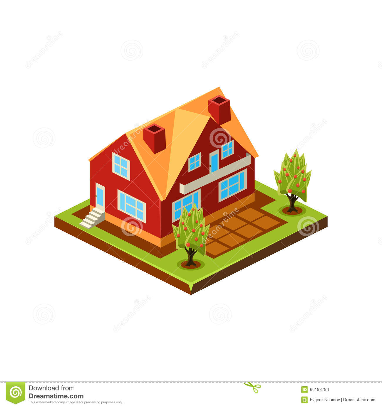 isometric icon representing modern house with backyard stock
