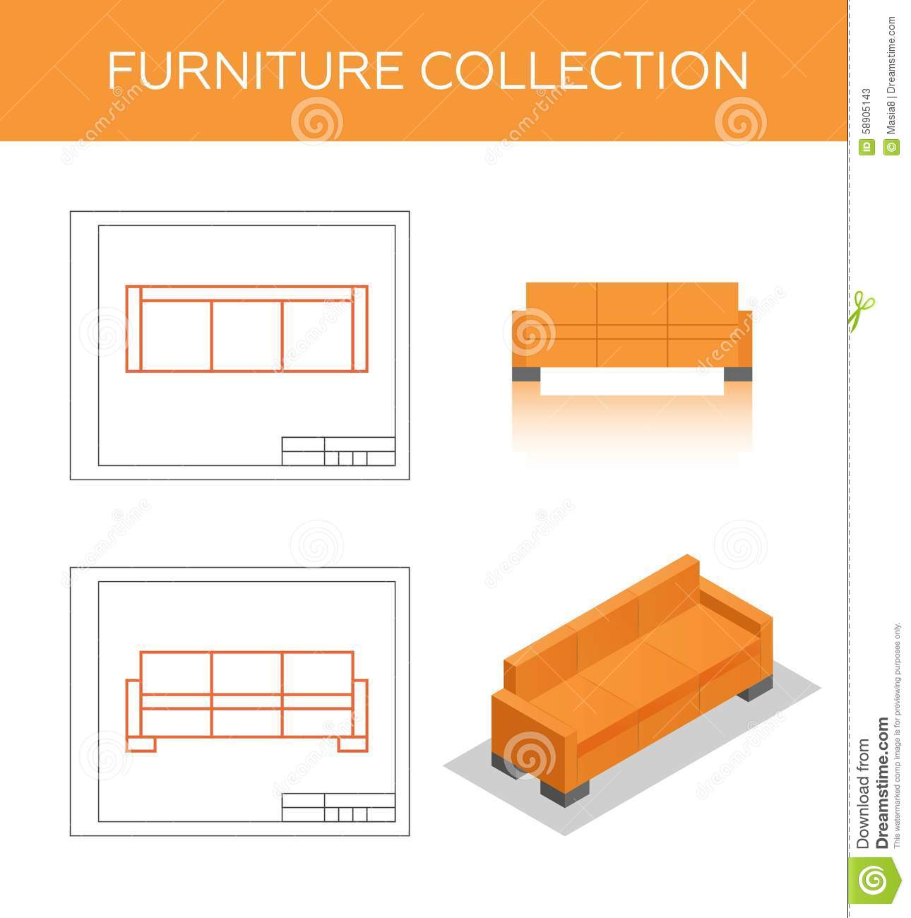 Isometric Icon Of A Sofa Stock Illustration - Image: 58905143