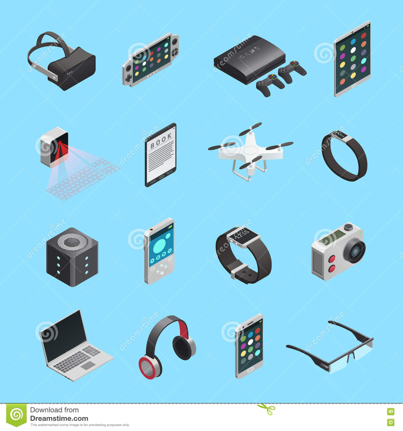 Isometric Icons Set Of Gadgets Stock Vector Illustration Drone Electronic Circuit Diagram Different For Communication Playing Music Photo And Other Functions