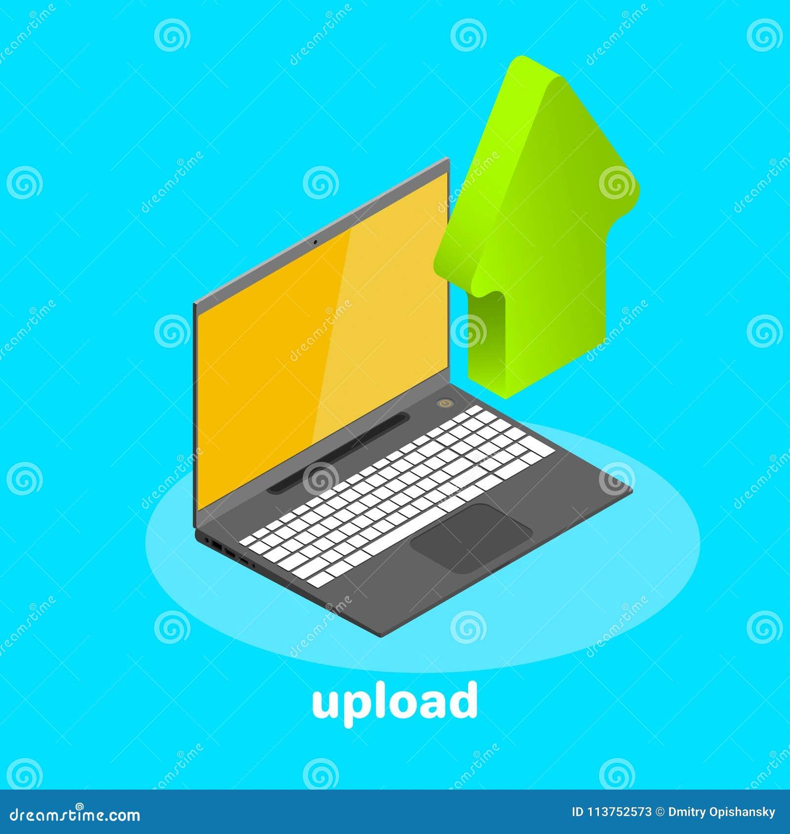 Isometric ikona, laptop i puszek strzała, upload cyfrowego