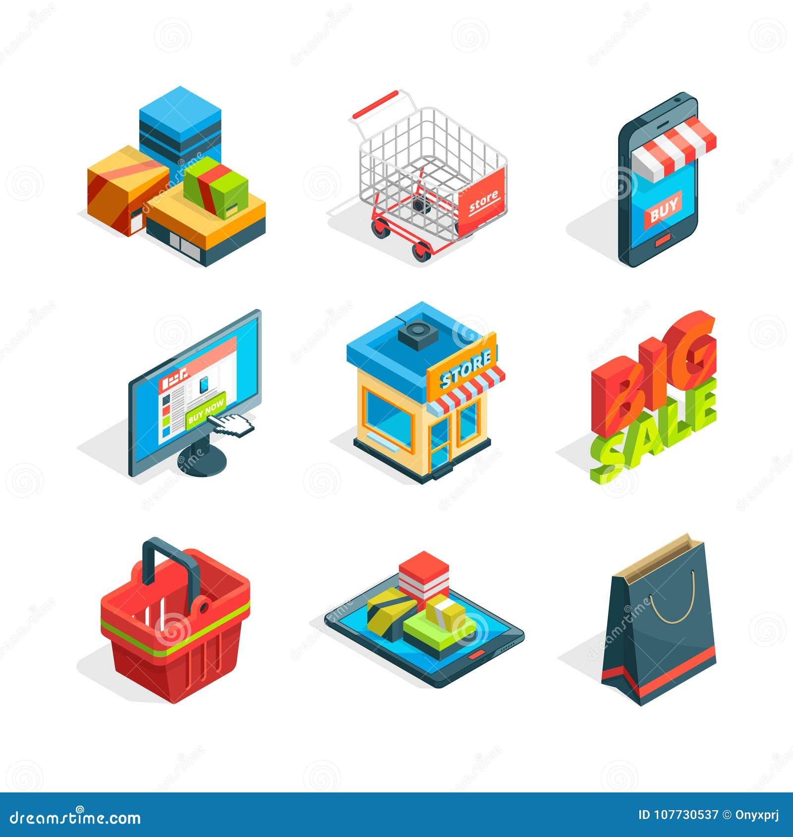 Isometric ikona ustawiająca online zakupy Symbole ecommerce Kupować w internecie