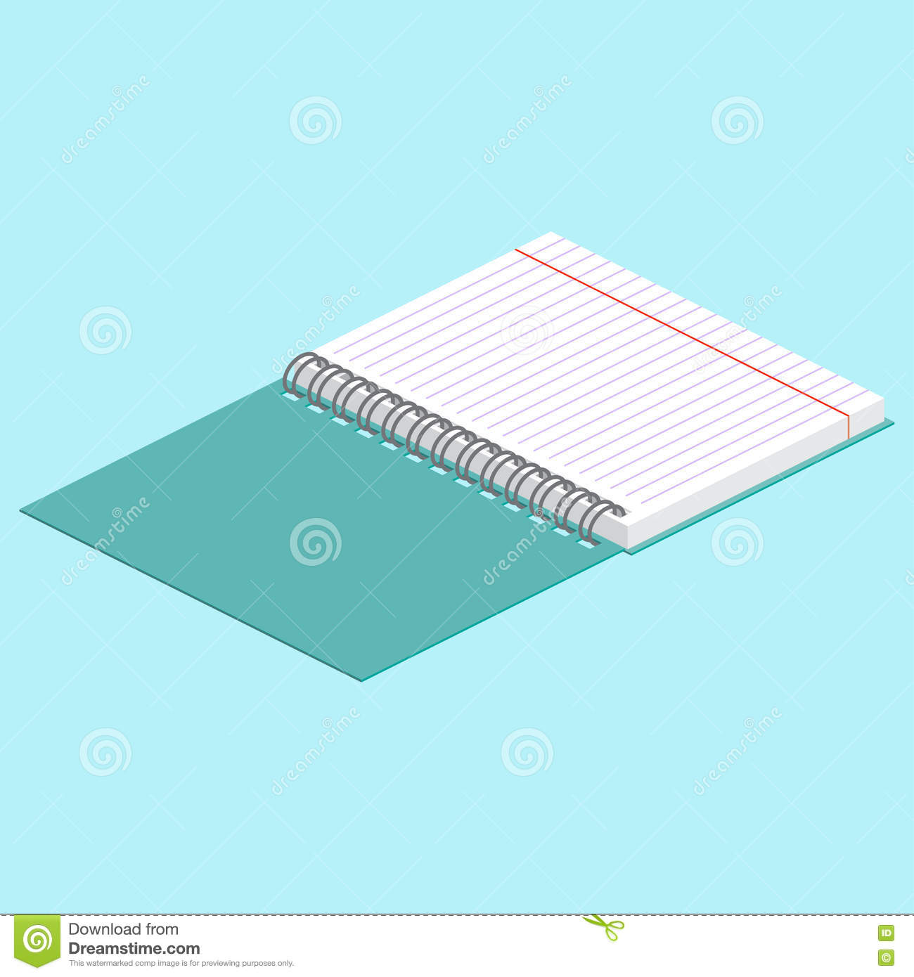 Isometric illustration on a blue background with the image of open spiral notebook. Vector illustration.