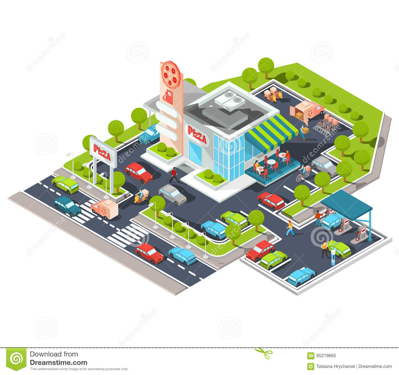 Isometric Illustration Of A Modern Italian Fast Food Restaurant With Parking And Gas Station Stock Illustration Illustration Of Infographic Design 95219665