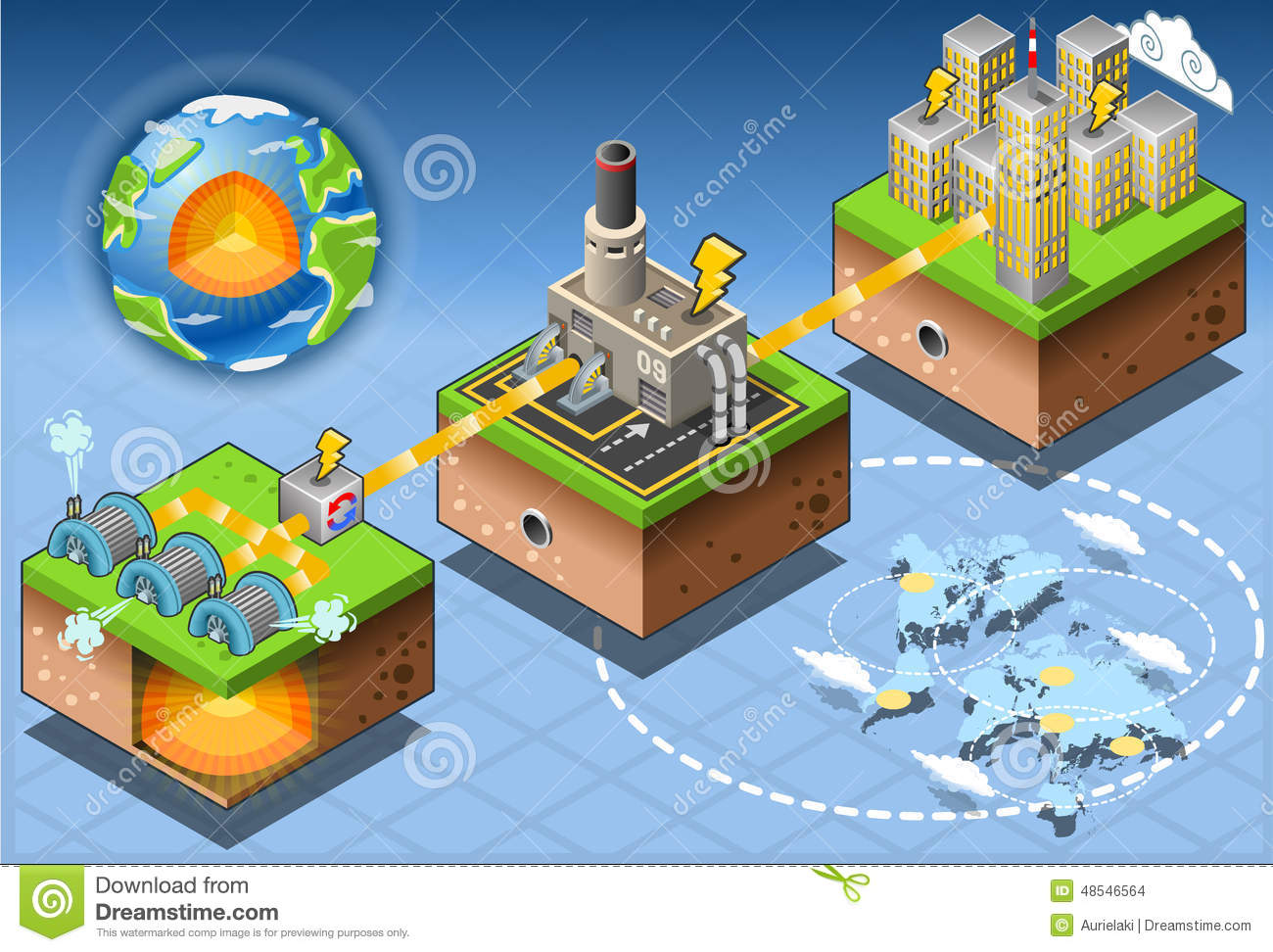 Isometric Infographic Geothermal Energy Harvesting Diagram Stock Vector