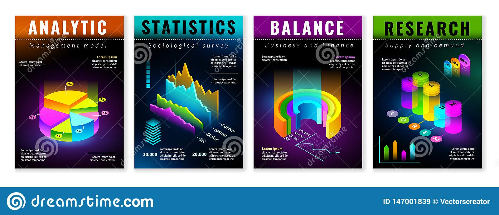 Isometric infographic plakaty