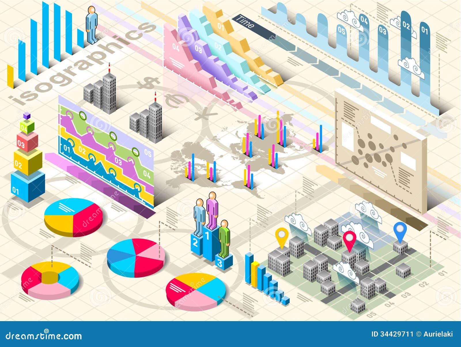 isometric infographic set elements stock image