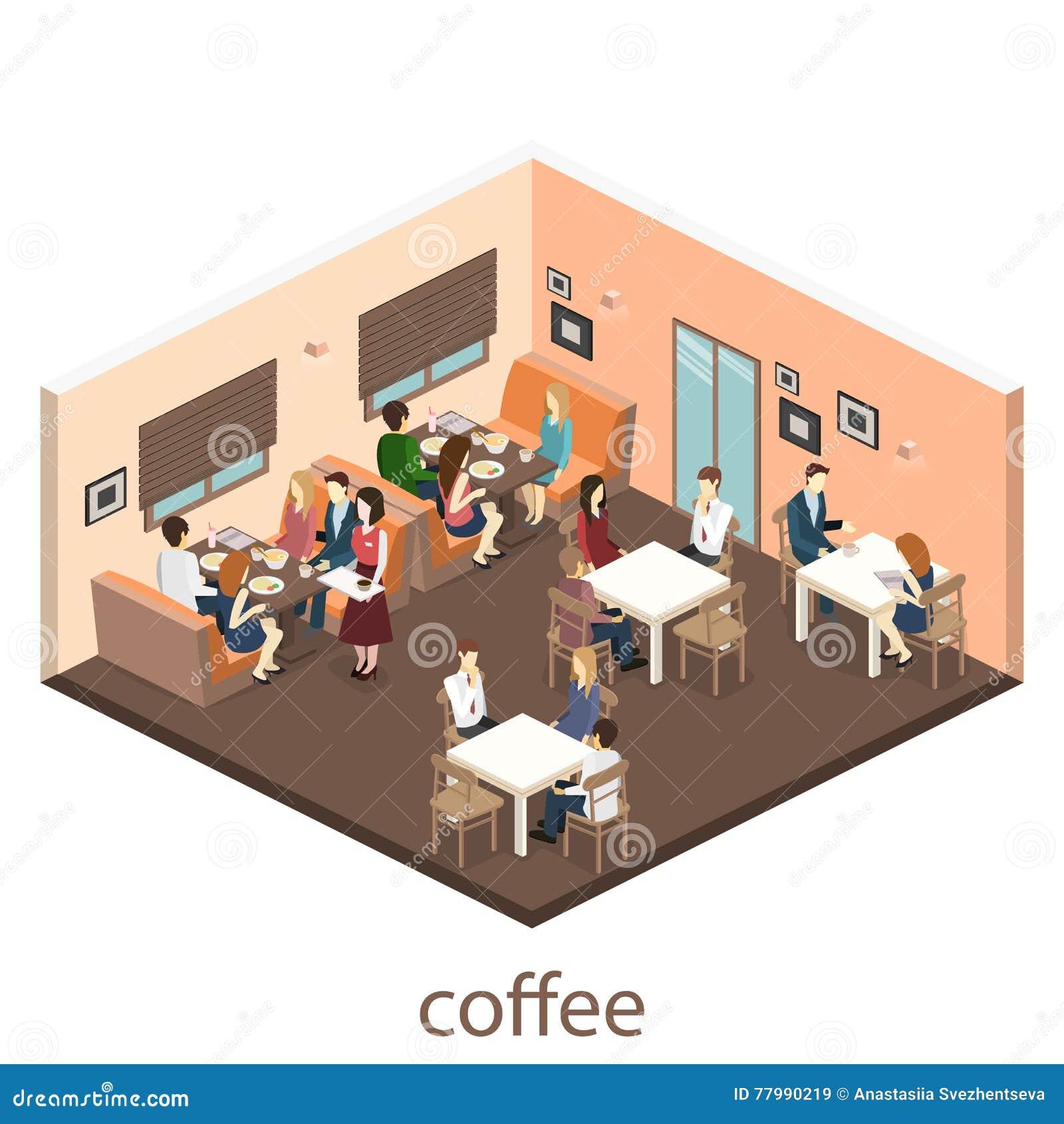Isometric Interior Of Cafe Shop Flat 3D Design