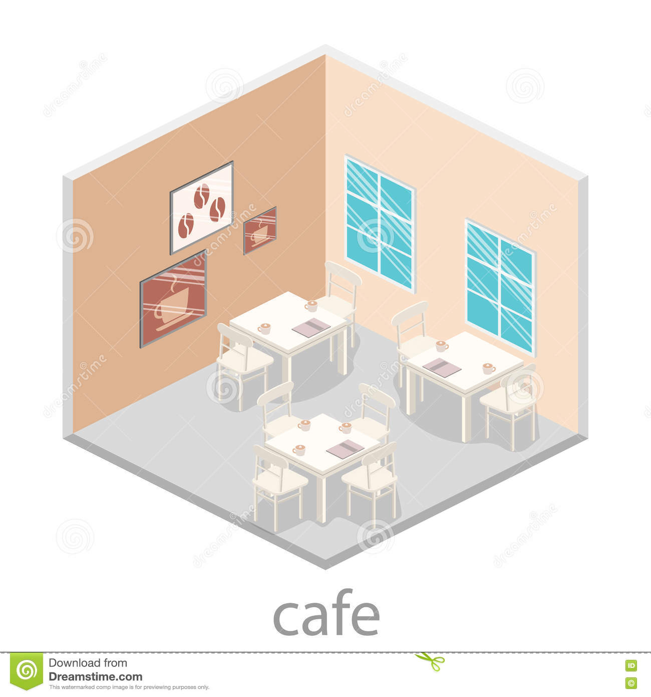 Isometric Interior Of Coffee Shop Flat 3d Isometric Design Interior Cafe Or Restaurant Stock Illustration Illustration Of Chairs Creative 77990199
