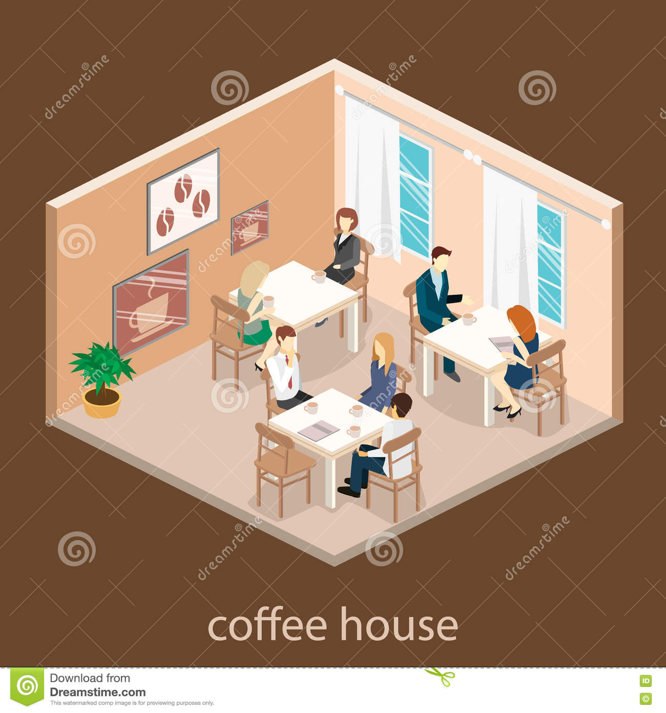 Isometric interior of coffee shop flat 3d isometric for 3d flat design online