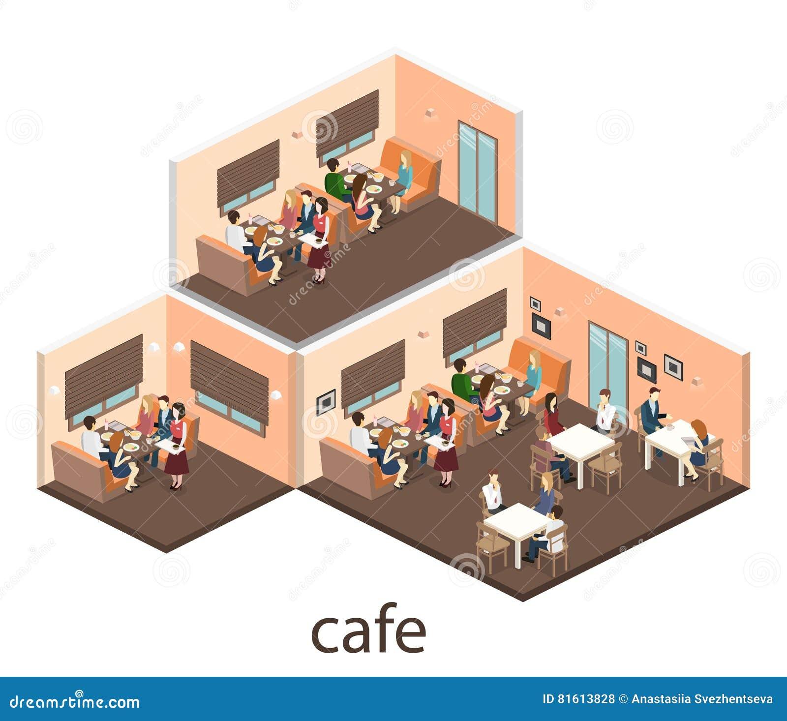 3d Floor Plan Isometric: Isometric Interior Of Coffee Shop. Flat 3D Isometric