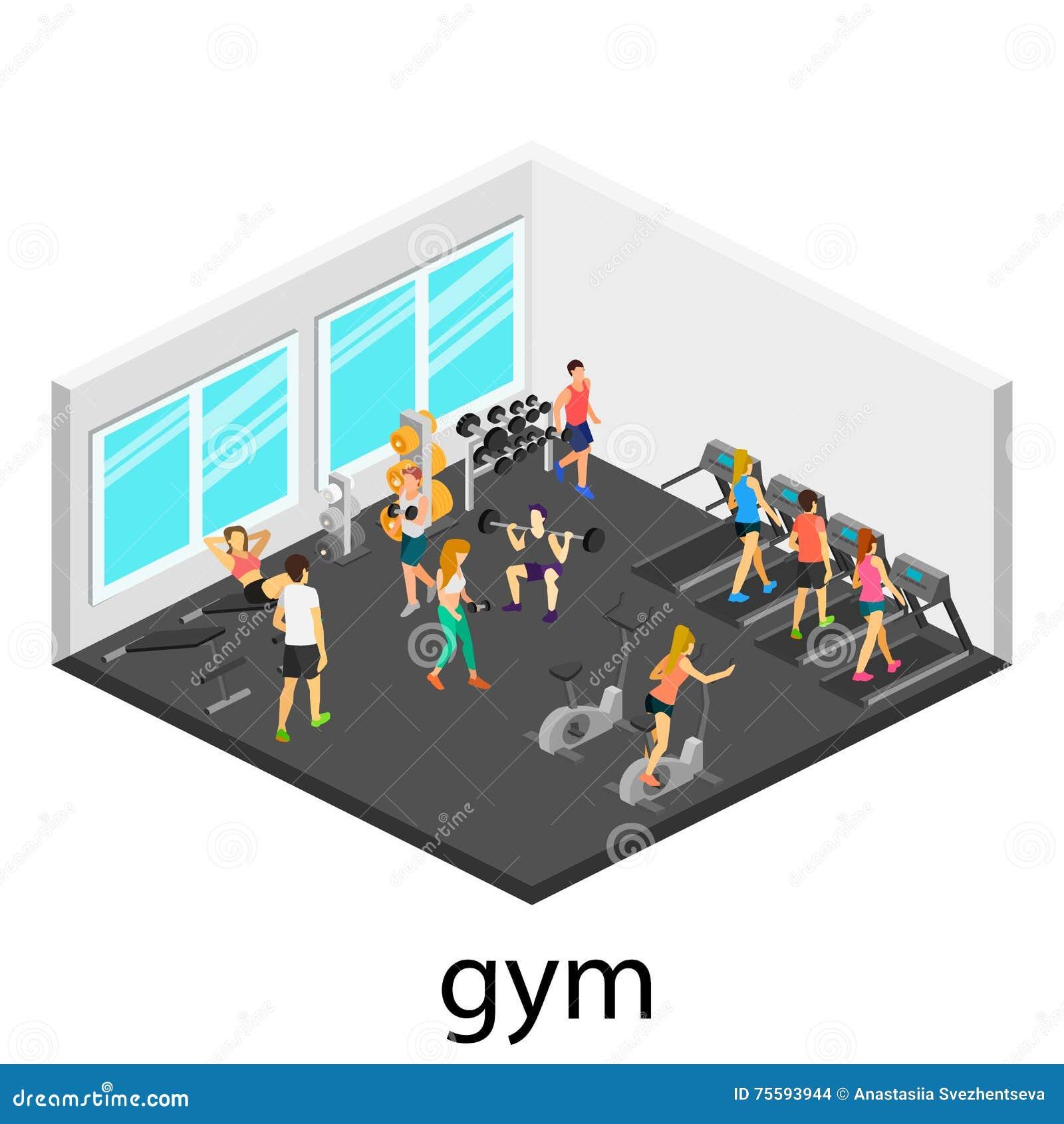 Isometric interior of gym
