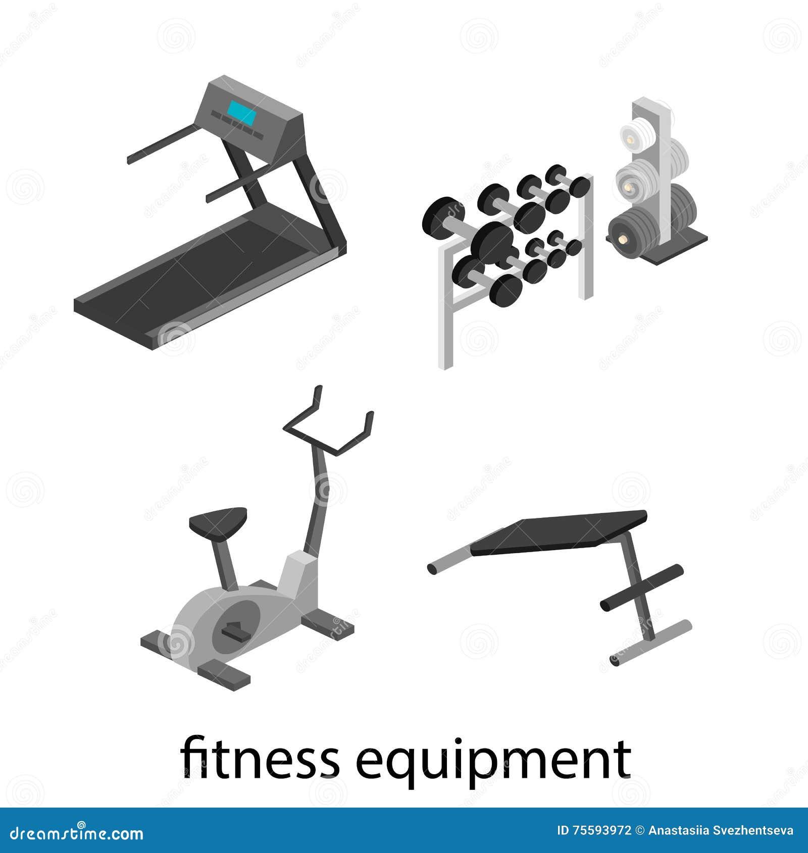 Isometric Exercise Equipment 1962: Isometric Vector Sports Club Fitness Gym. Cartoon Vector