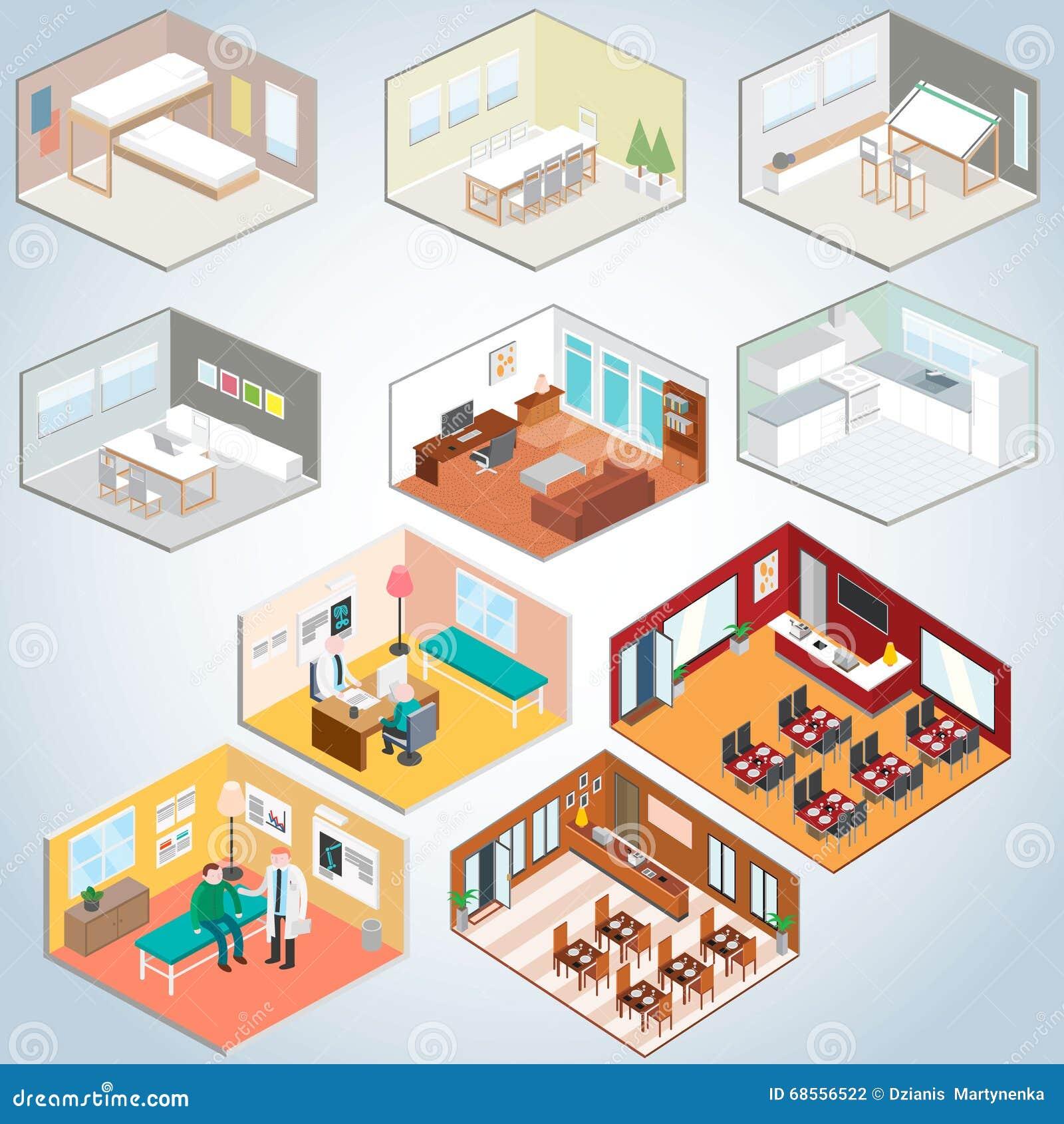 Isometric Interior Set, Isometric Rooms Stock Vector