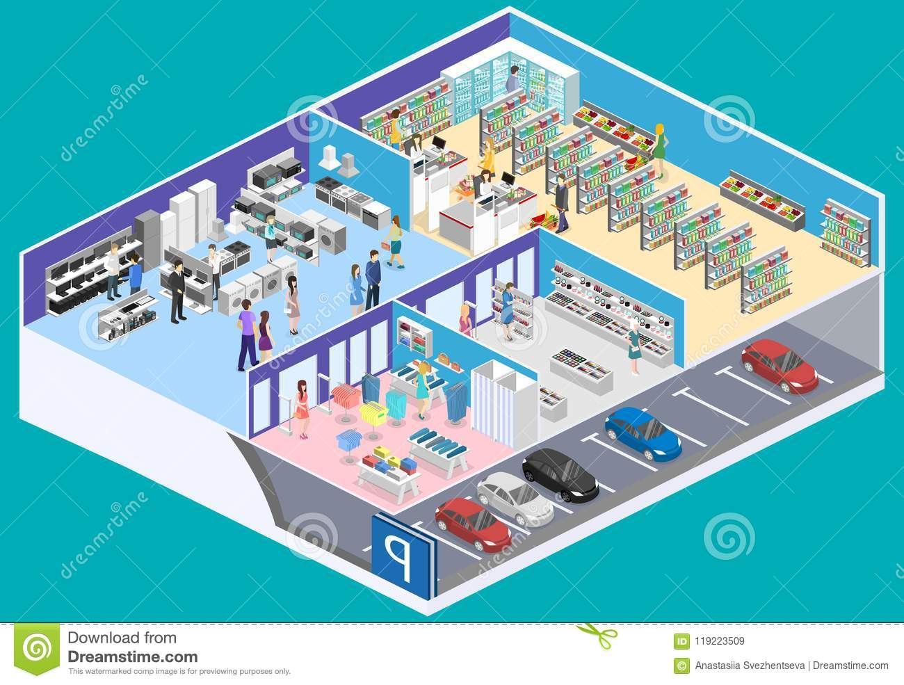 Isometric Interior Shopping Mall, Grocery, Computer, Household