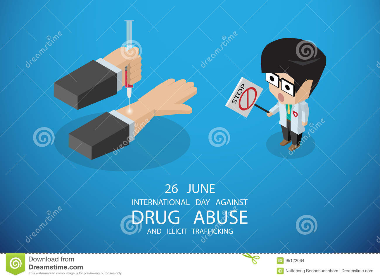 Isometric international day against drug abuse and illicit trafficking, vector illustration